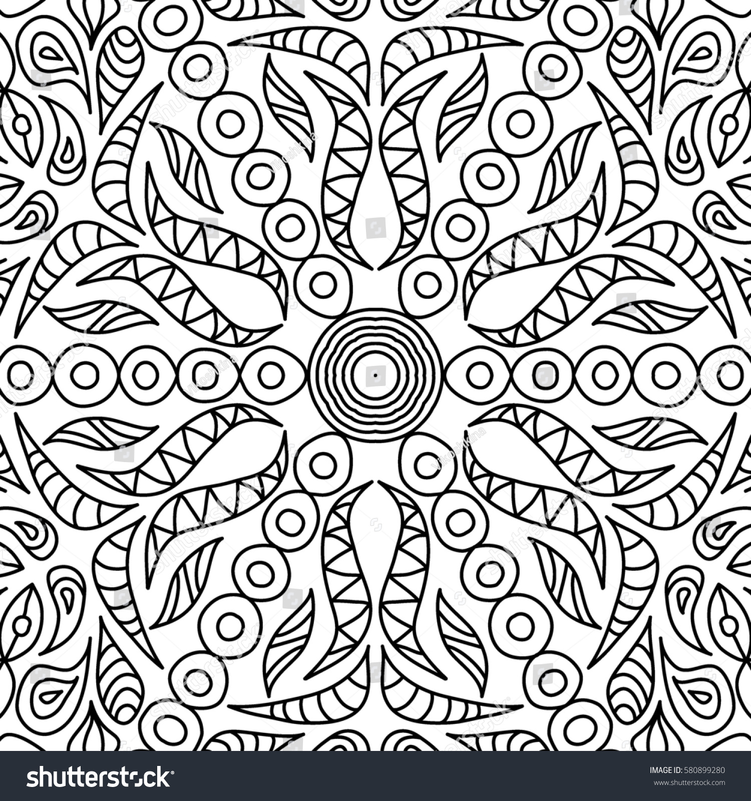 Adult Coloring Book Page Seamless Ornate Stock Illustration