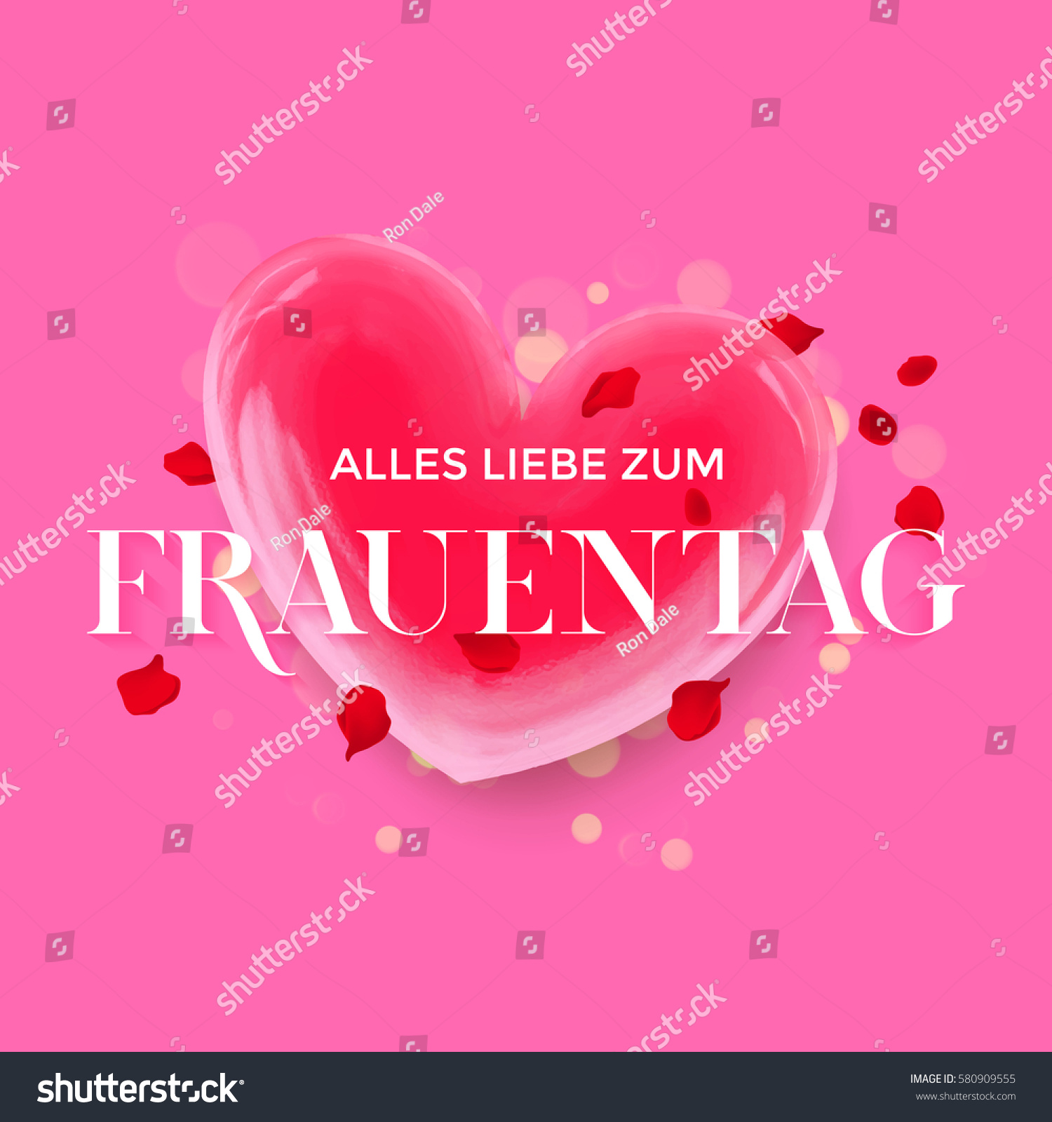 with love for women day text in german with 3d red heart with flying rose petals