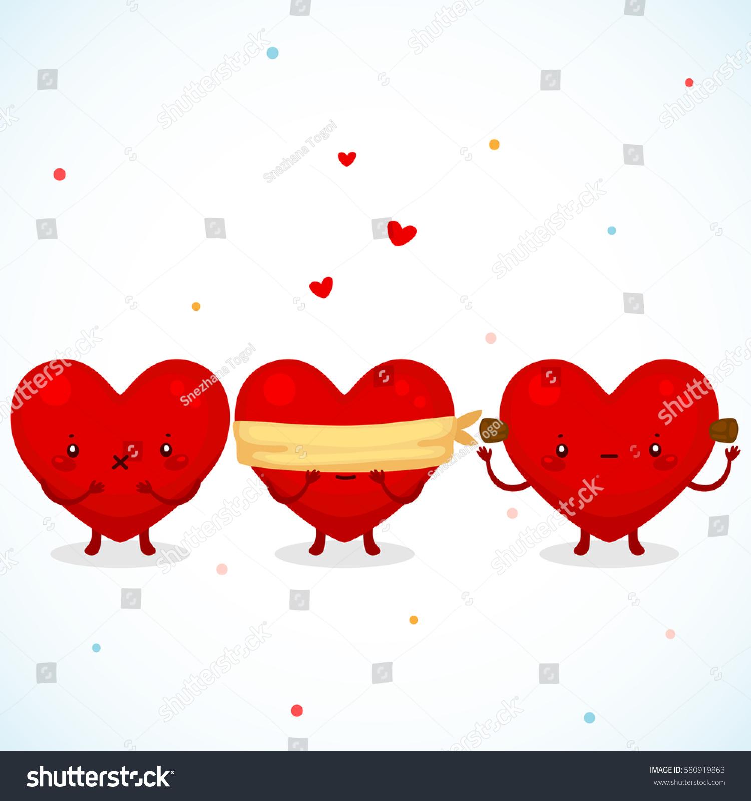 Three Cute Hearts Symbol Love See Stock Vector Royalty Free