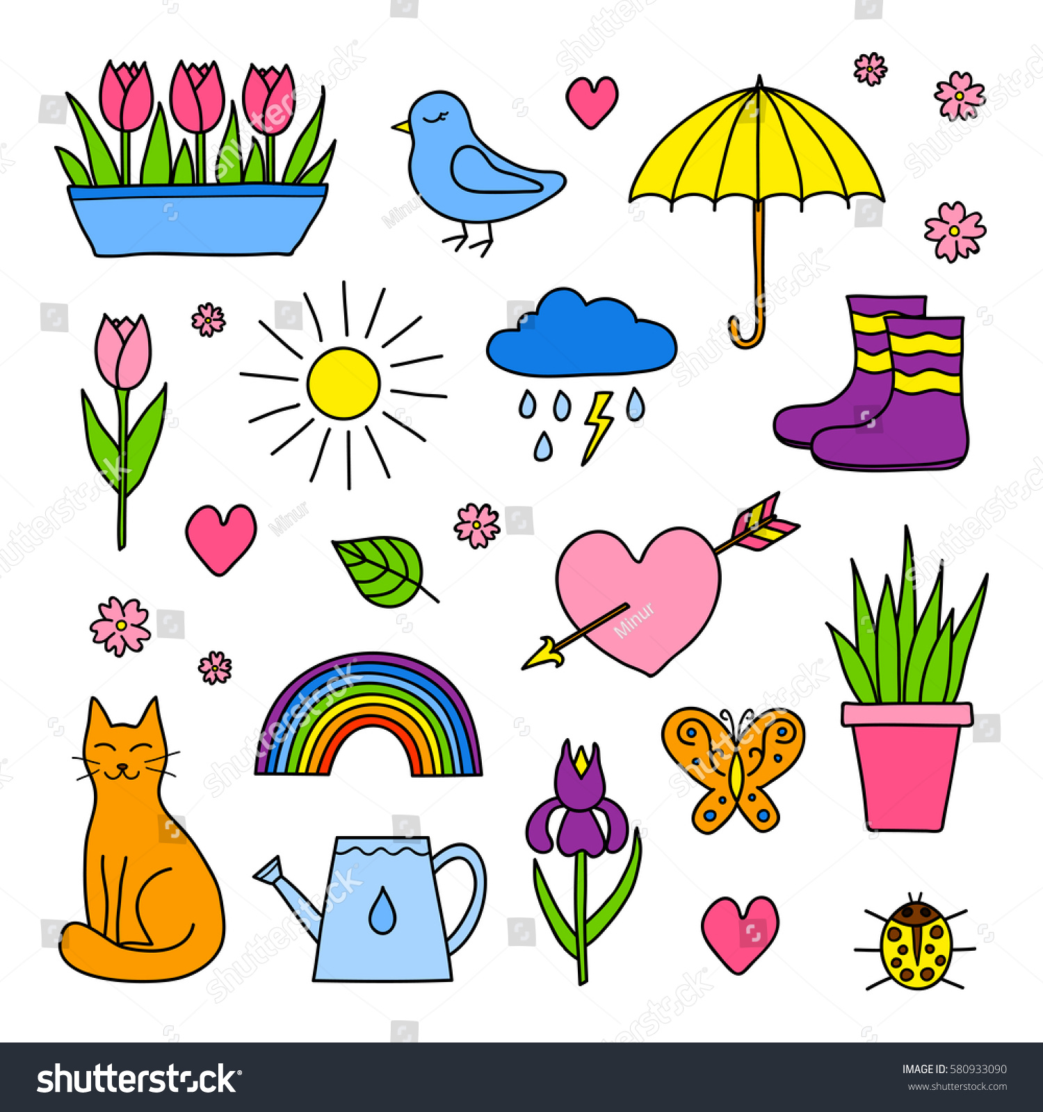 Collection Hand Drawn Spring Items Including Stock Vector (Royalty