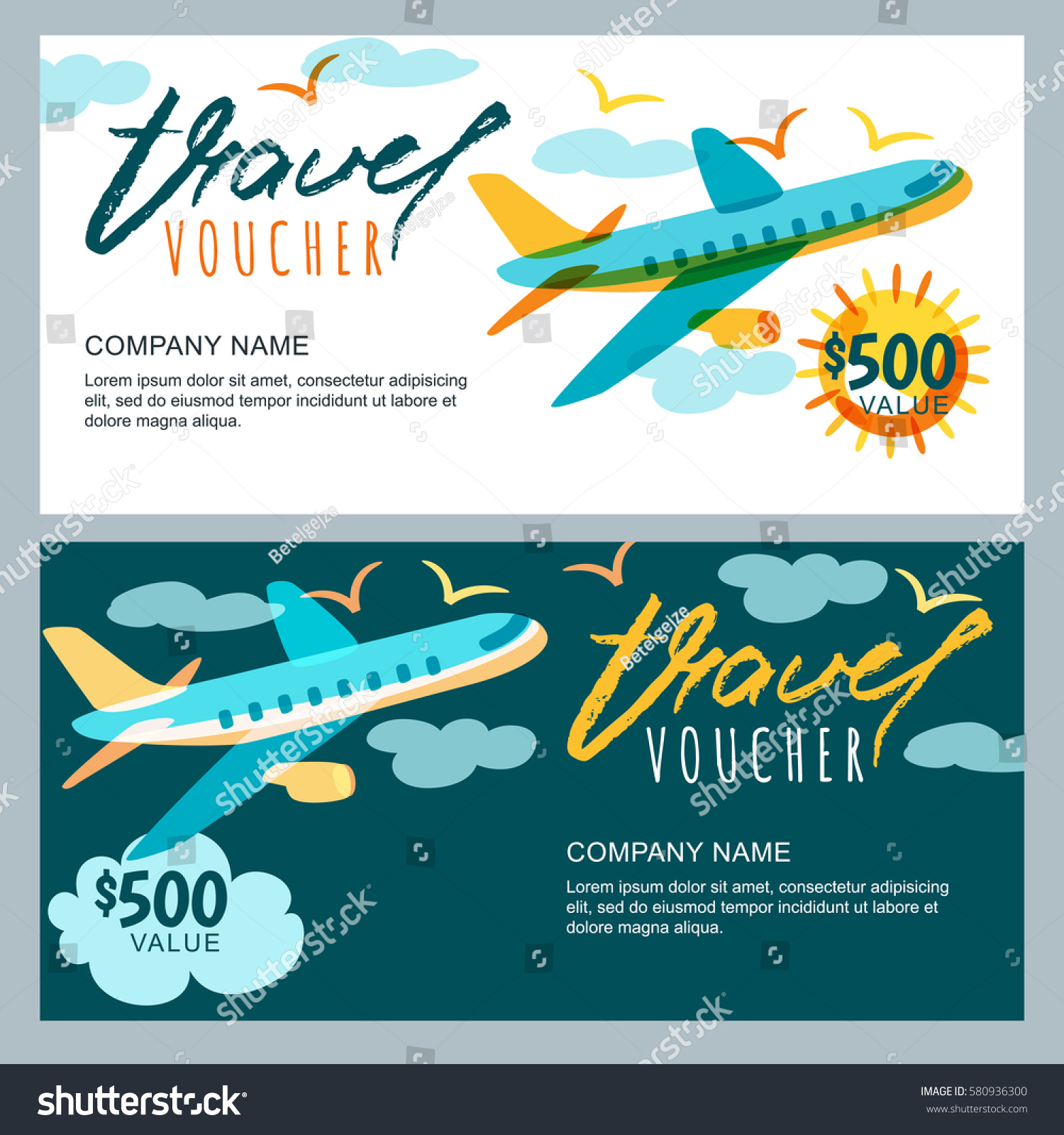 Vector Gift Travel Voucher Template Multicolor Stock