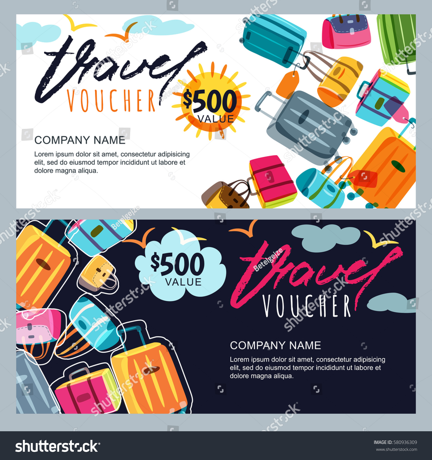 Vector Gift Travel Voucher Template Multicolor Stock Vector Royalty
