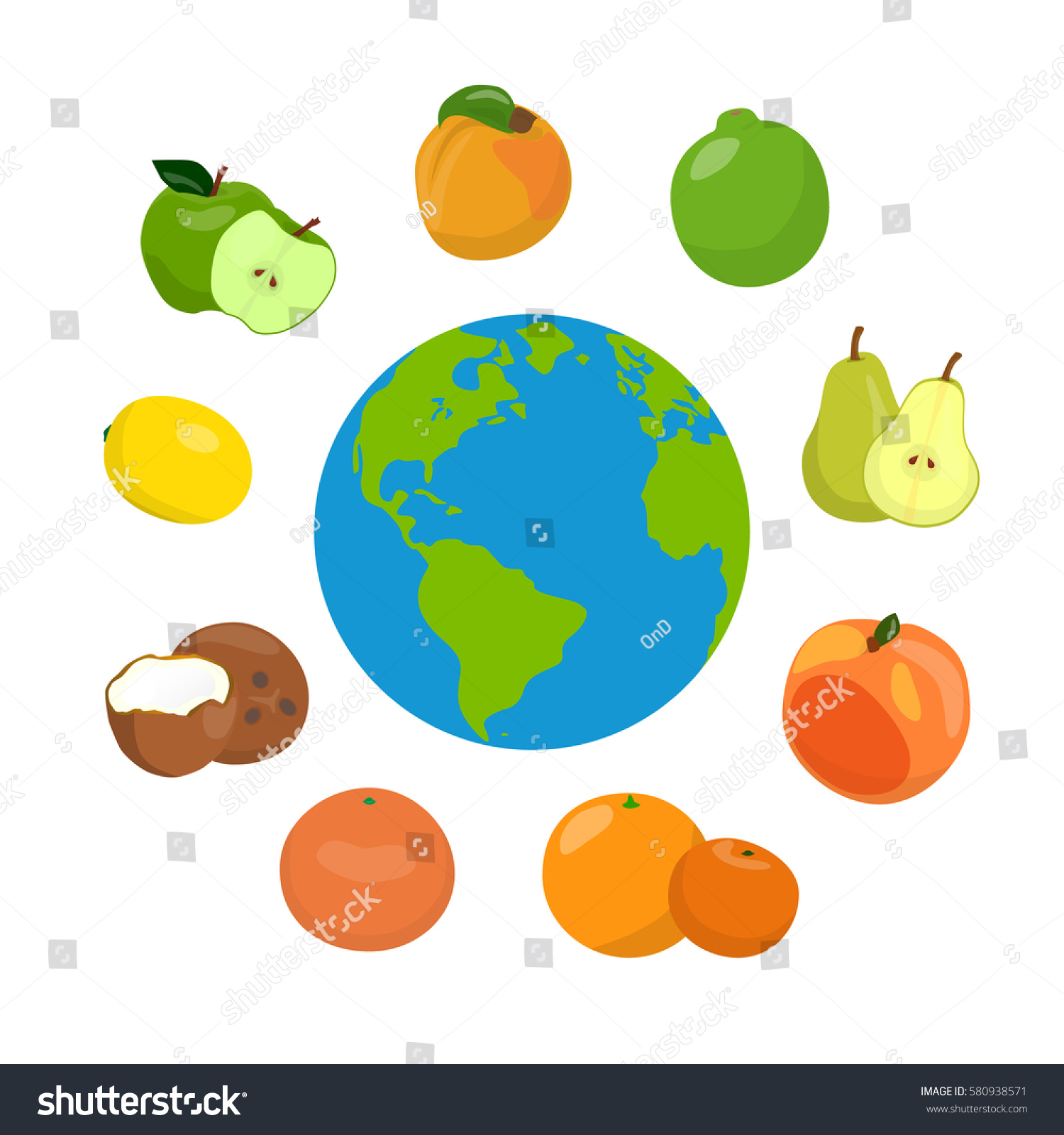 Similar Images To Various Fruits Around The World Health Day Concept With Earth And Healthy Food Vector Illustration