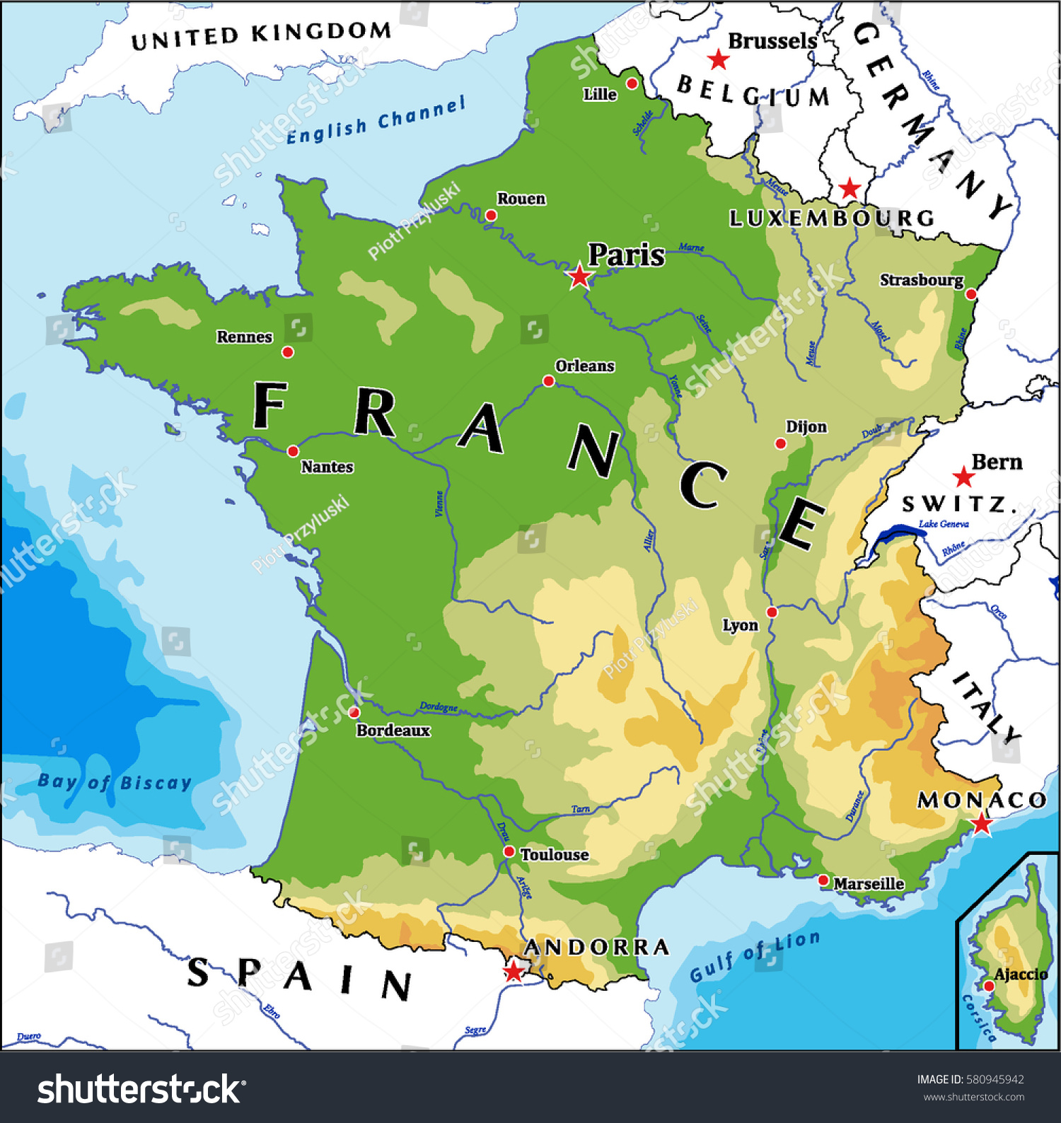 France Physical Vector Map Stock Vector Shutterstock - France geographical map