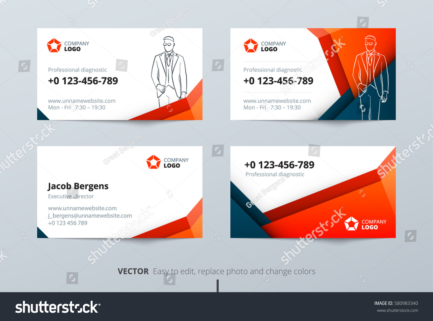 business card design blue orange business のベクター画像素材