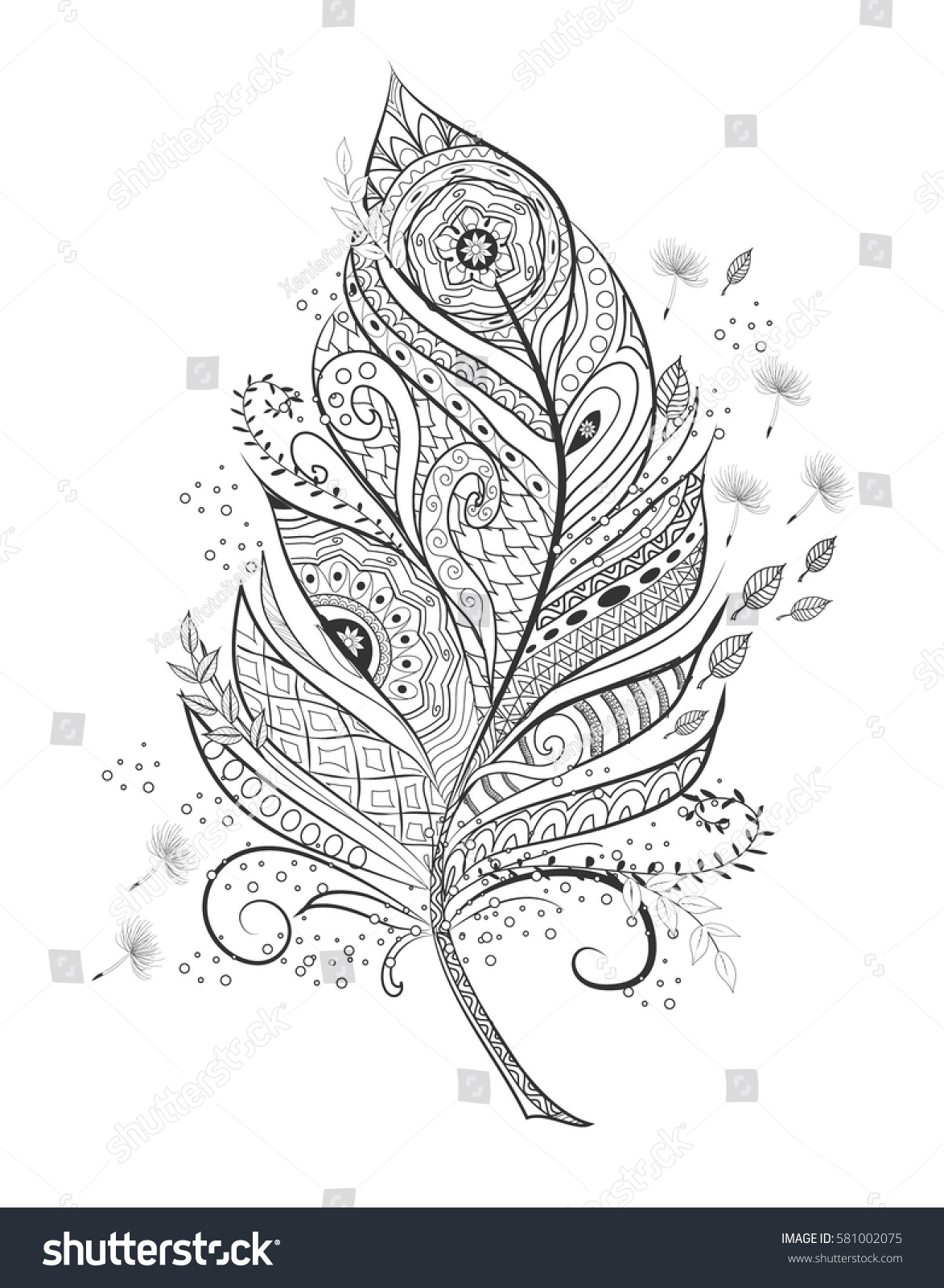 Zentangle Stylized Feather Coloring Page Hand Stock Vector Royalty