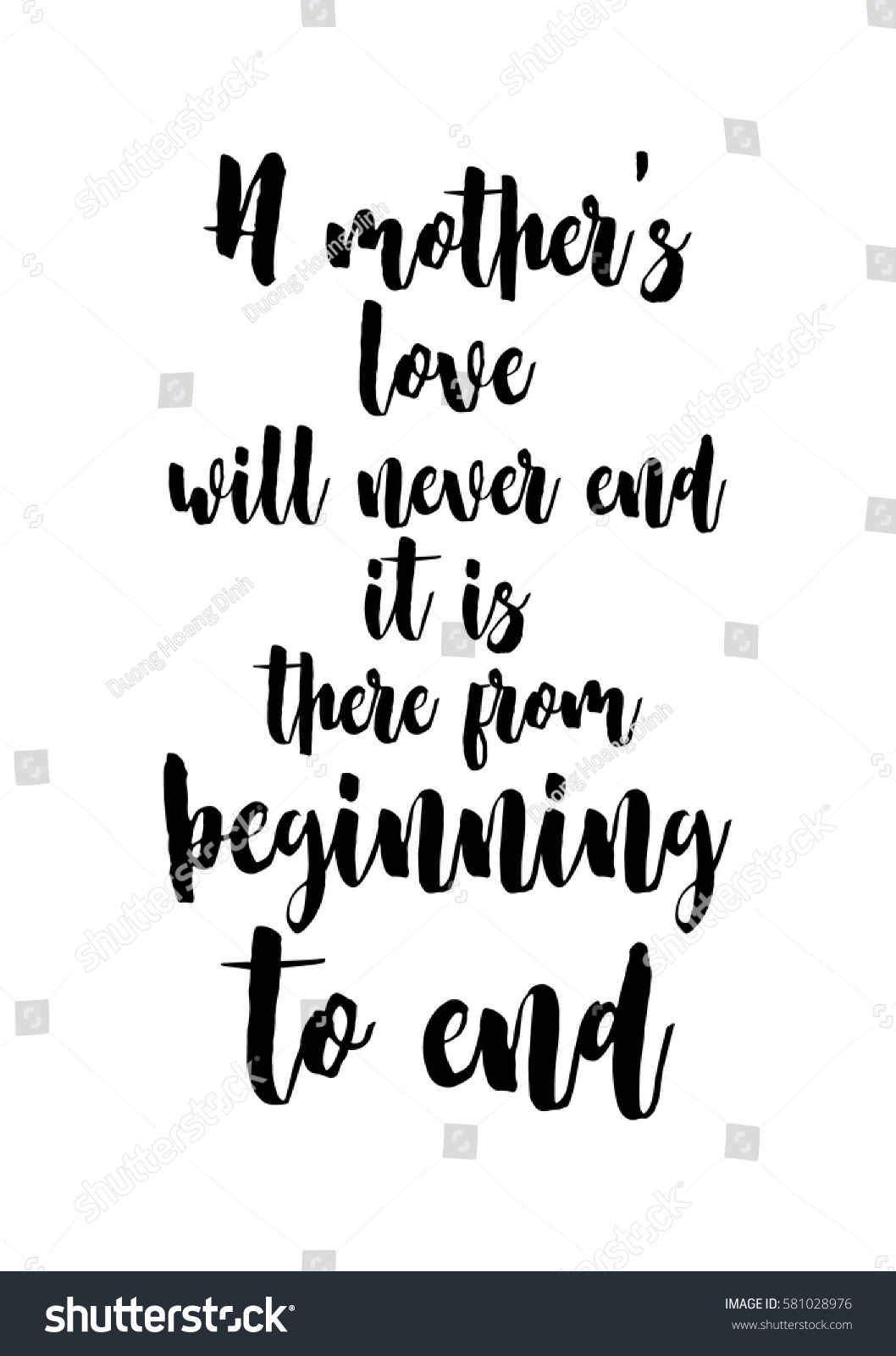 A Mothers Love Quotes Black Calligraphy Inscription Day Quote Day Stock Vector 581028976