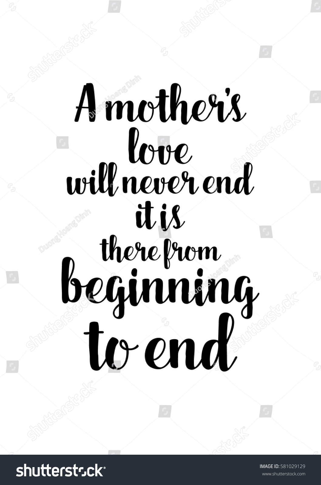 A Mothers Love Quotes Black Calligraphy Inscription Day Quote Day Stock Vector 581029129