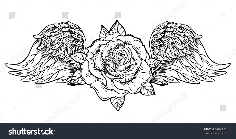Rose Flower Angel Bird Wings Blackwork Stock Vector Royalty Free