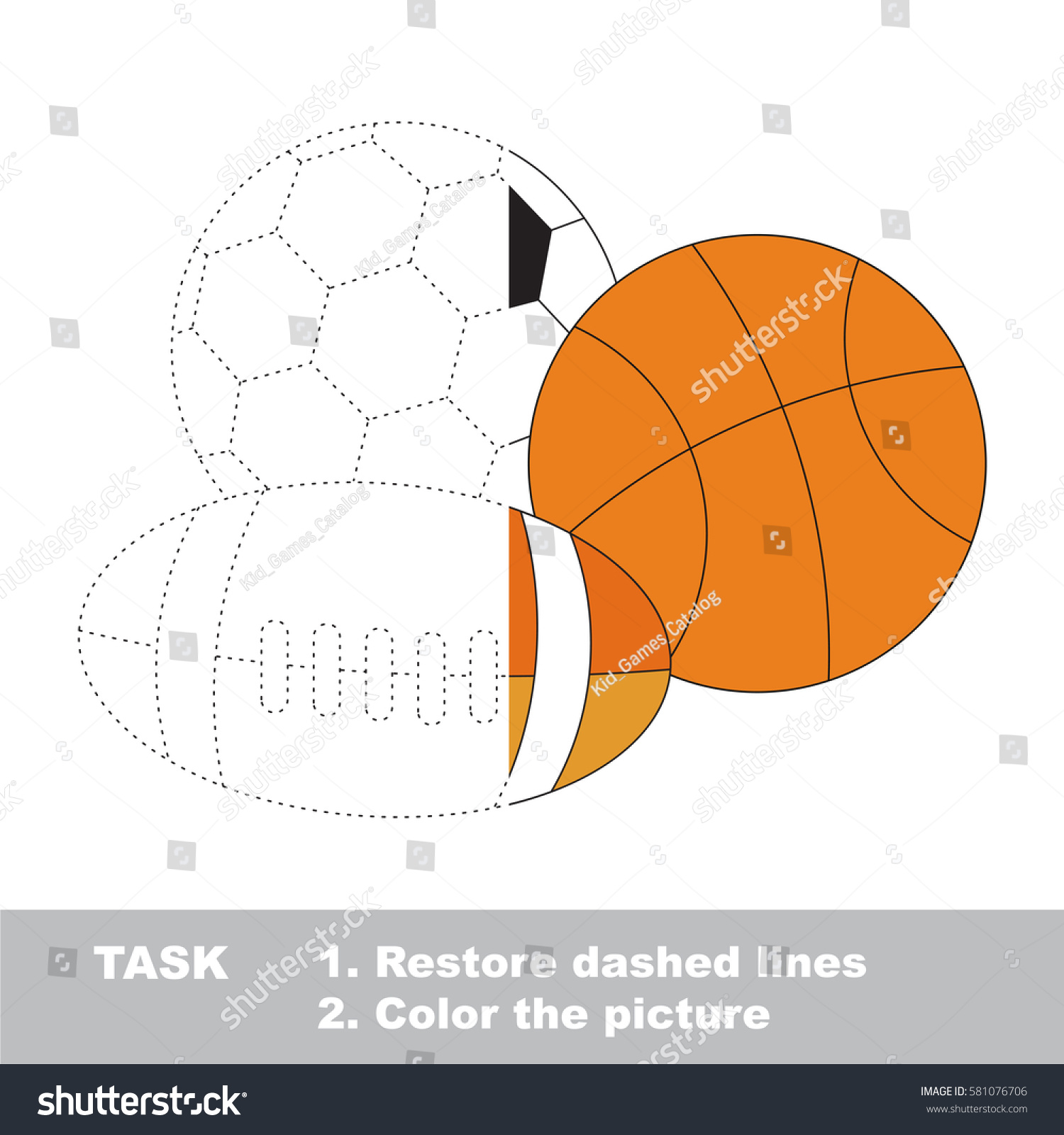different balls set dot dot educational stock vector 581076706