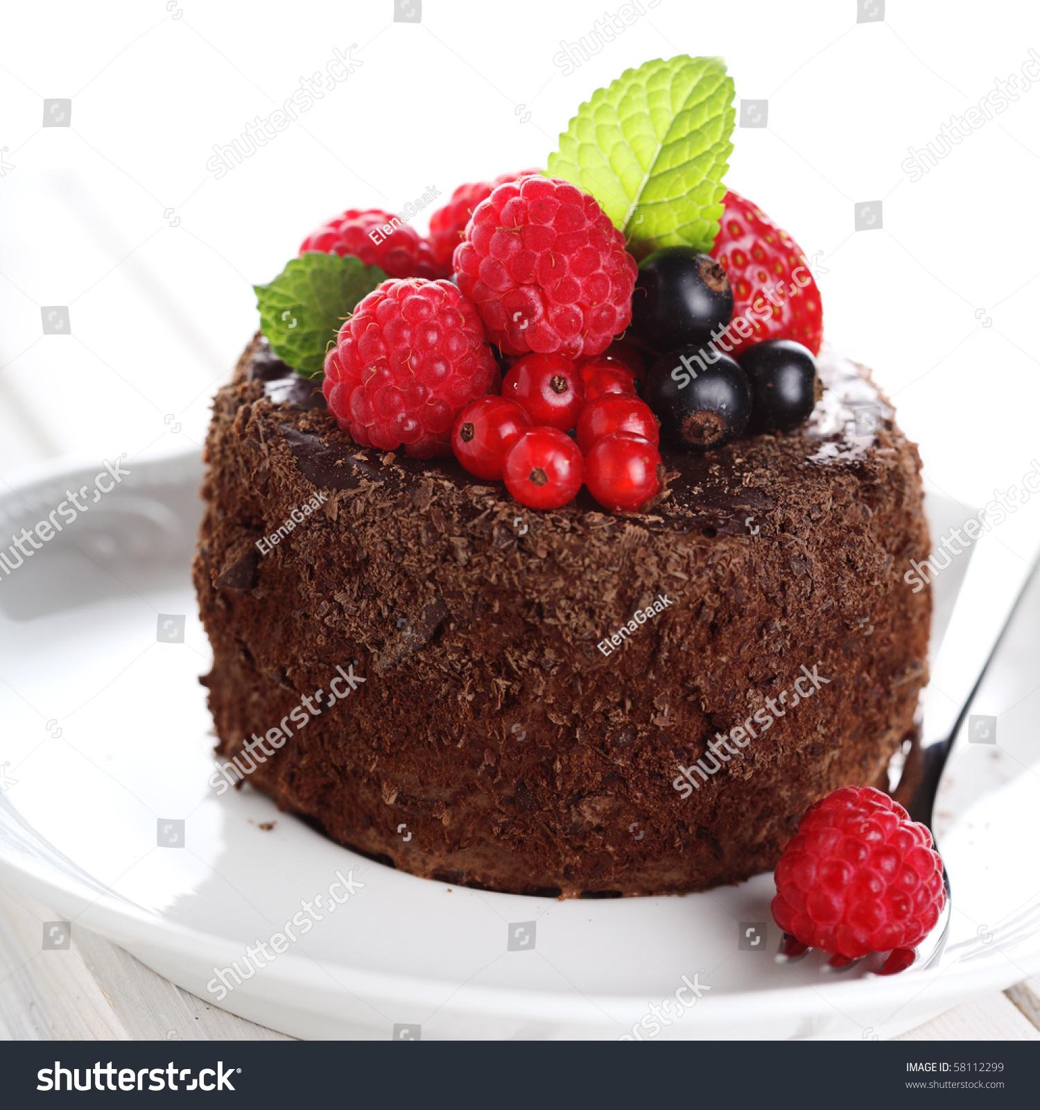 Beautiful Chocolate Cake Fresh Berry On Stock Photo Edit Now
