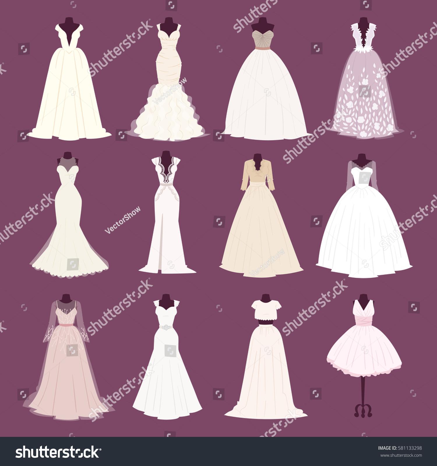 Wedding Bride Girl Dress Vector Different Stock Vector