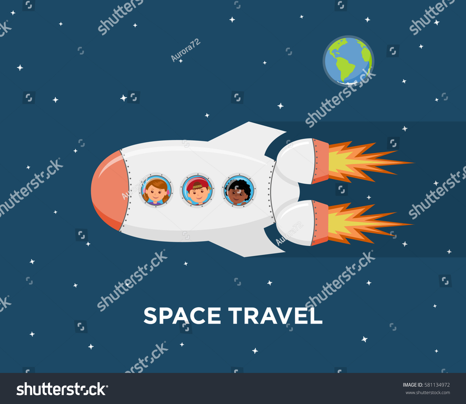 Travel on spaceship astronauts children outer stock vector for Outer space travel