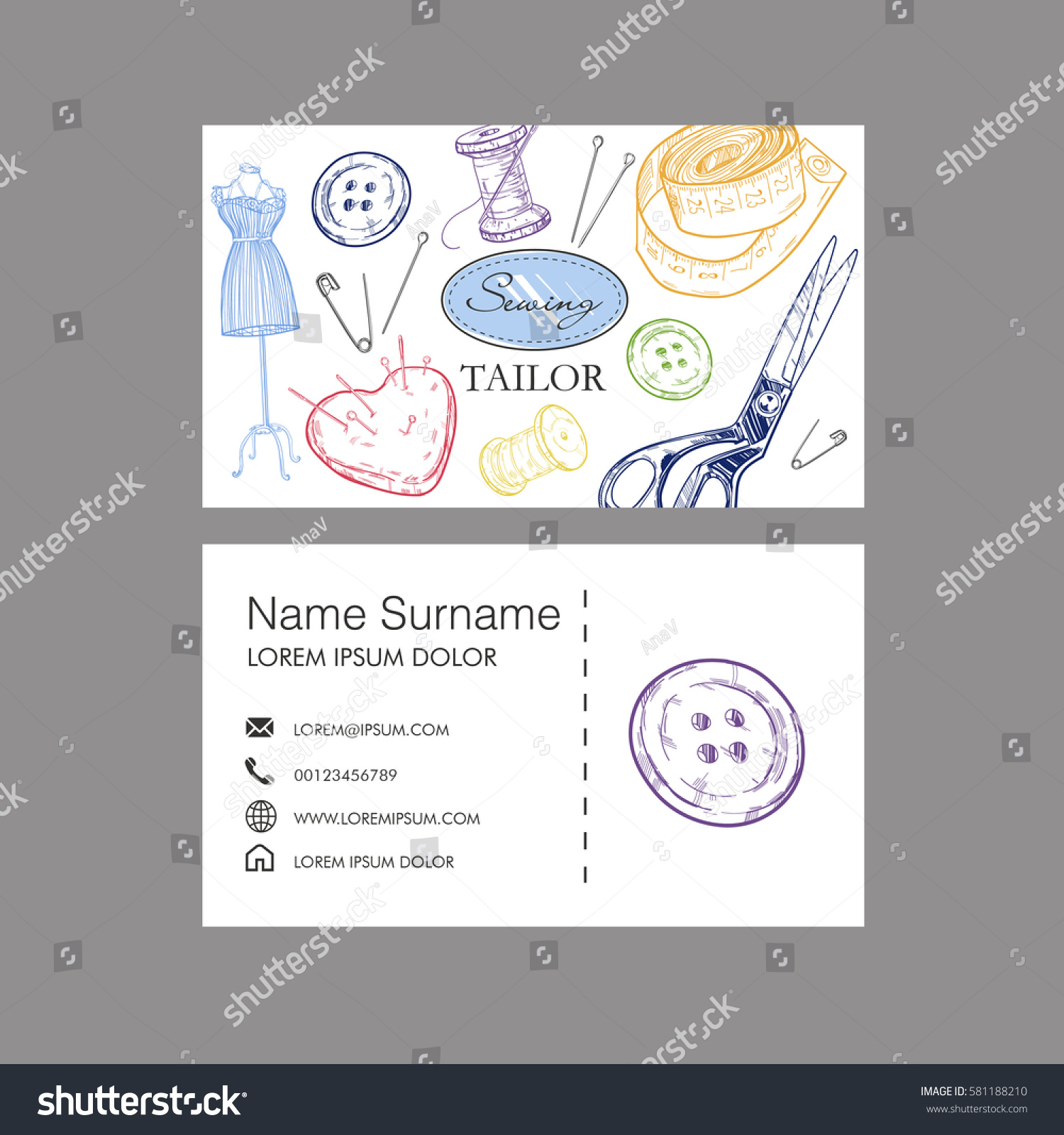 Sewing Tailor Concept Business Card Vector Stock Vector 581188210 ...