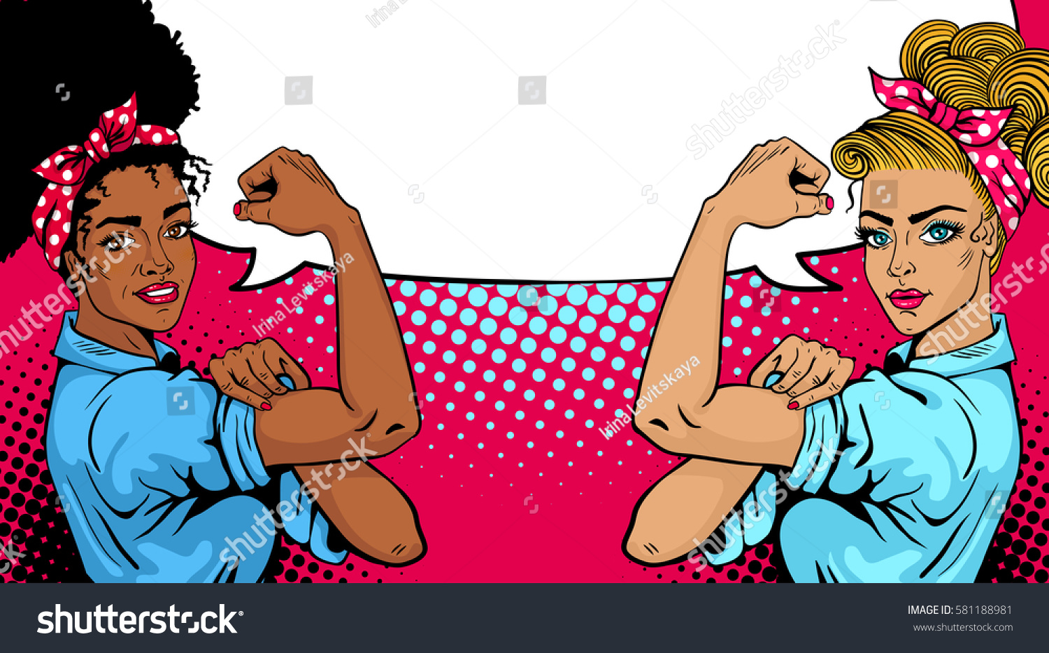 Pop art sexy strong african white stock vector 581188981 pop art sexy strong african and white girls with empty speech bubble american symbol of biocorpaavc