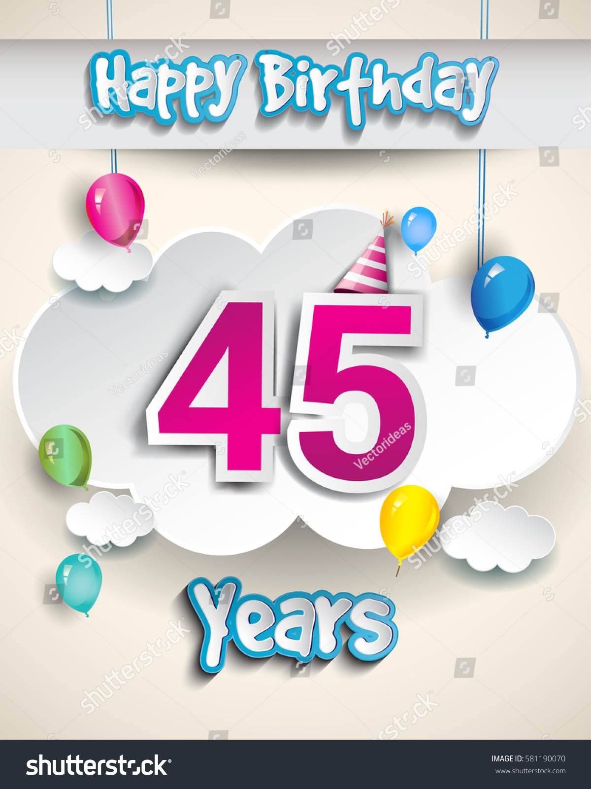 45th Birthday Celebration Design With Clouds And Balloons Greeting Card Invitation For