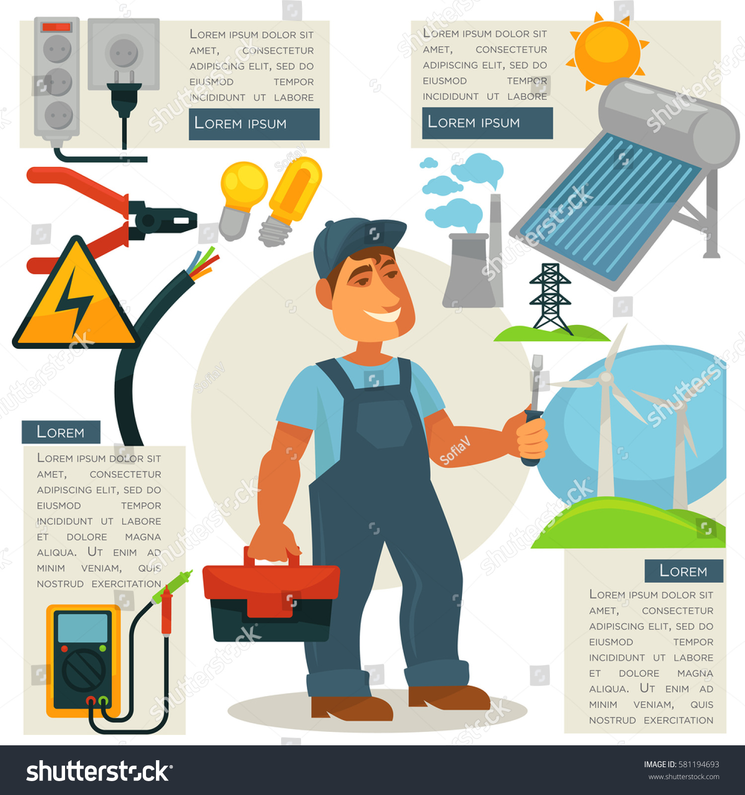Electrician Profession Infographics Poster Template