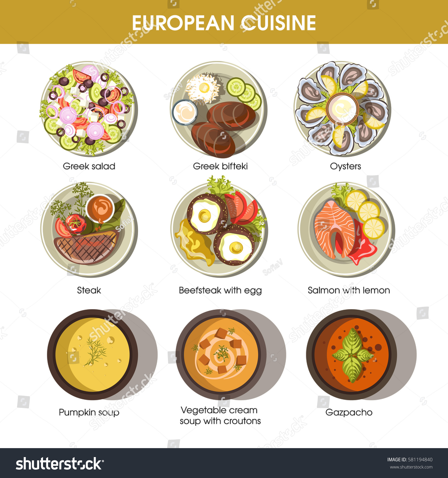 European cuisine icons restaurant menu templates stock for Apollon greek and european cuisine