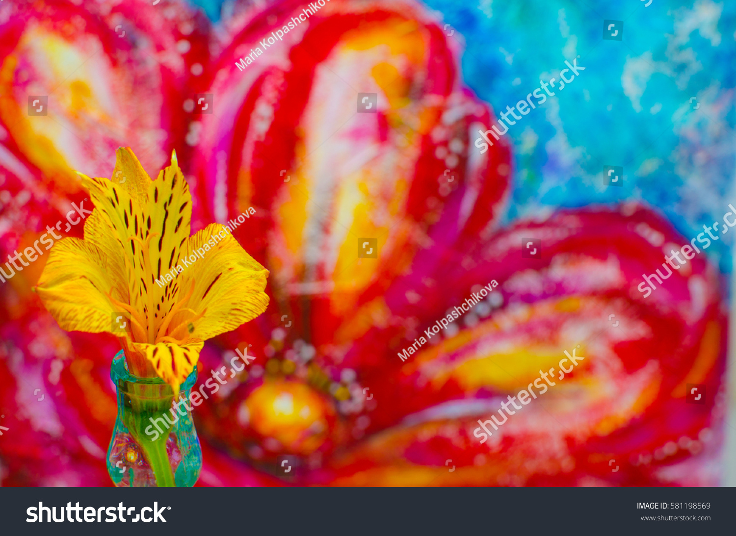 Live Natural Real Beauty Yellow Bright Orange Flower Bud In The Foreground,  On A Background