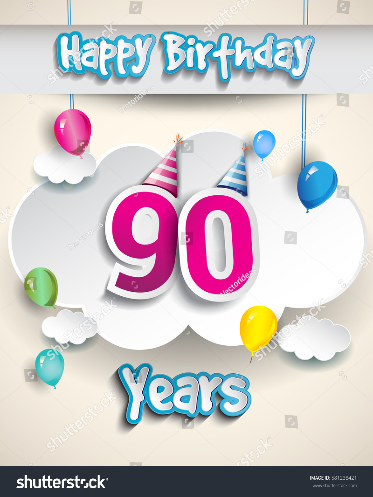 90th Birthday Celebration Design Clouds Balloons Stock Vector ...
