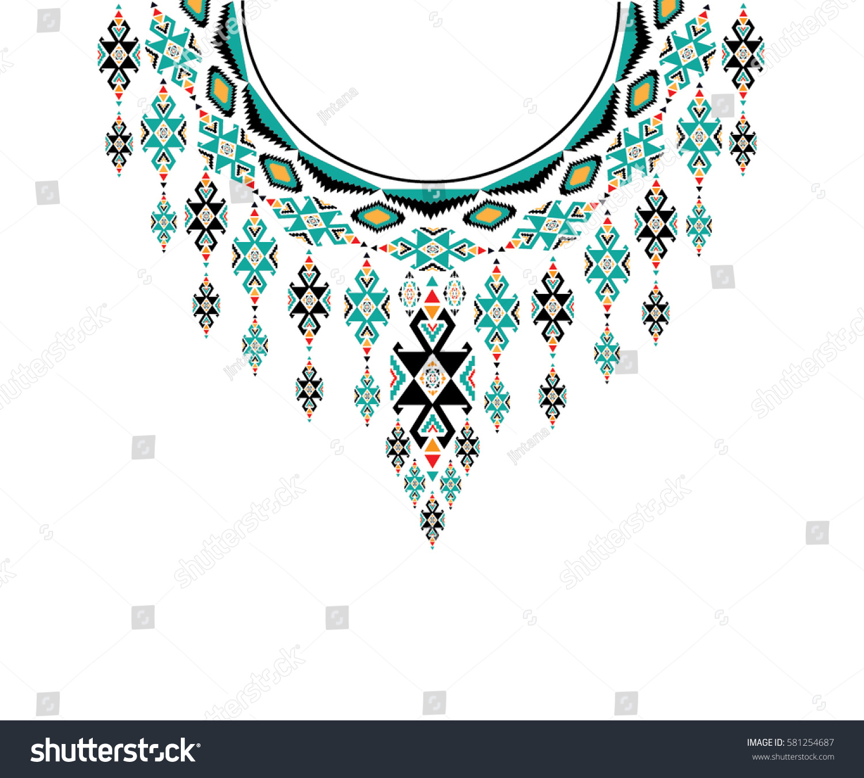 Geometric Ethnic Pattern Neck Embroidery Design Stock