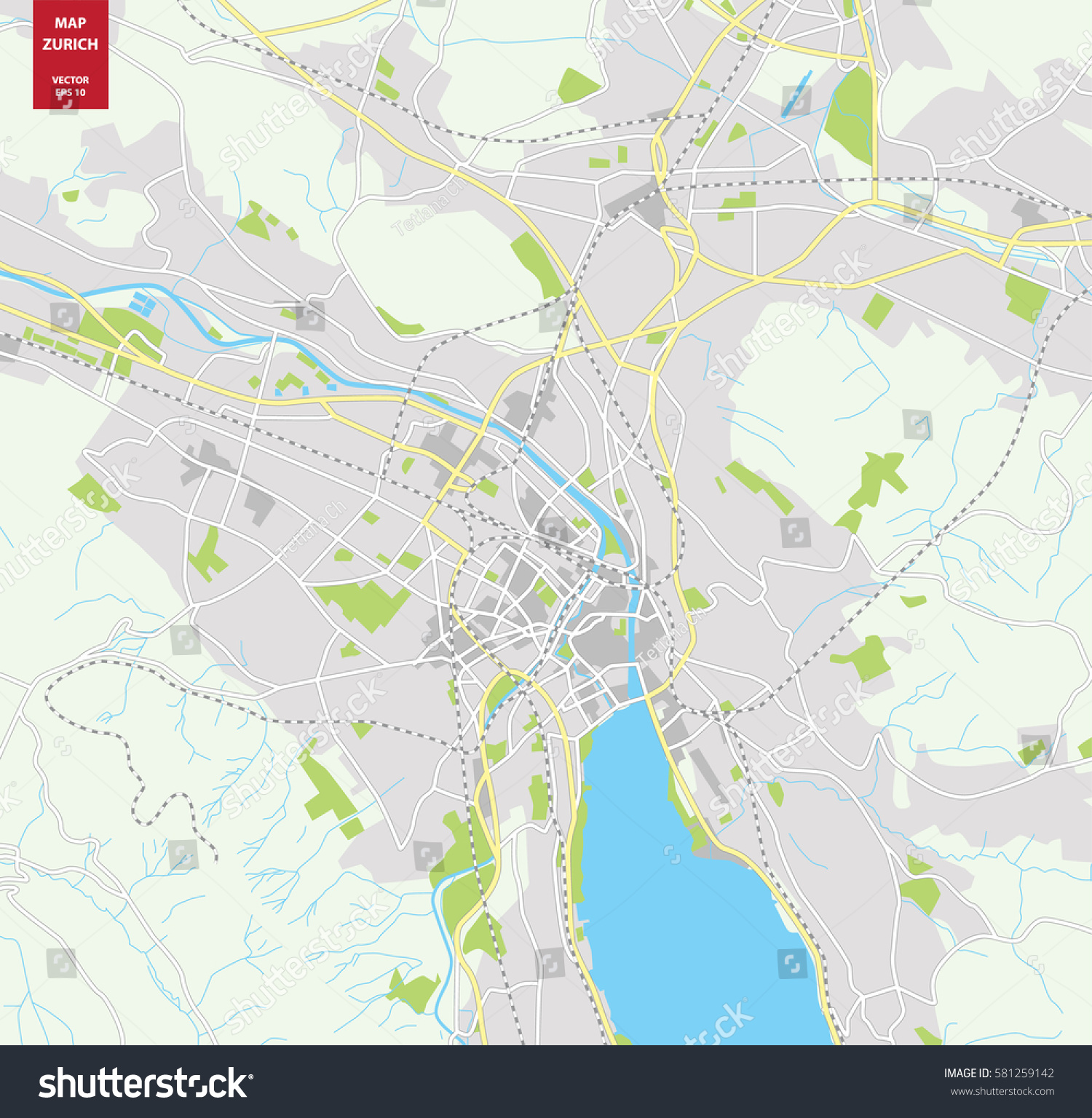 Vector color map zurich switzerland city stock photo photo vector vector color map of zurich switzerland city plan of zurich vector illustration gumiabroncs Gallery