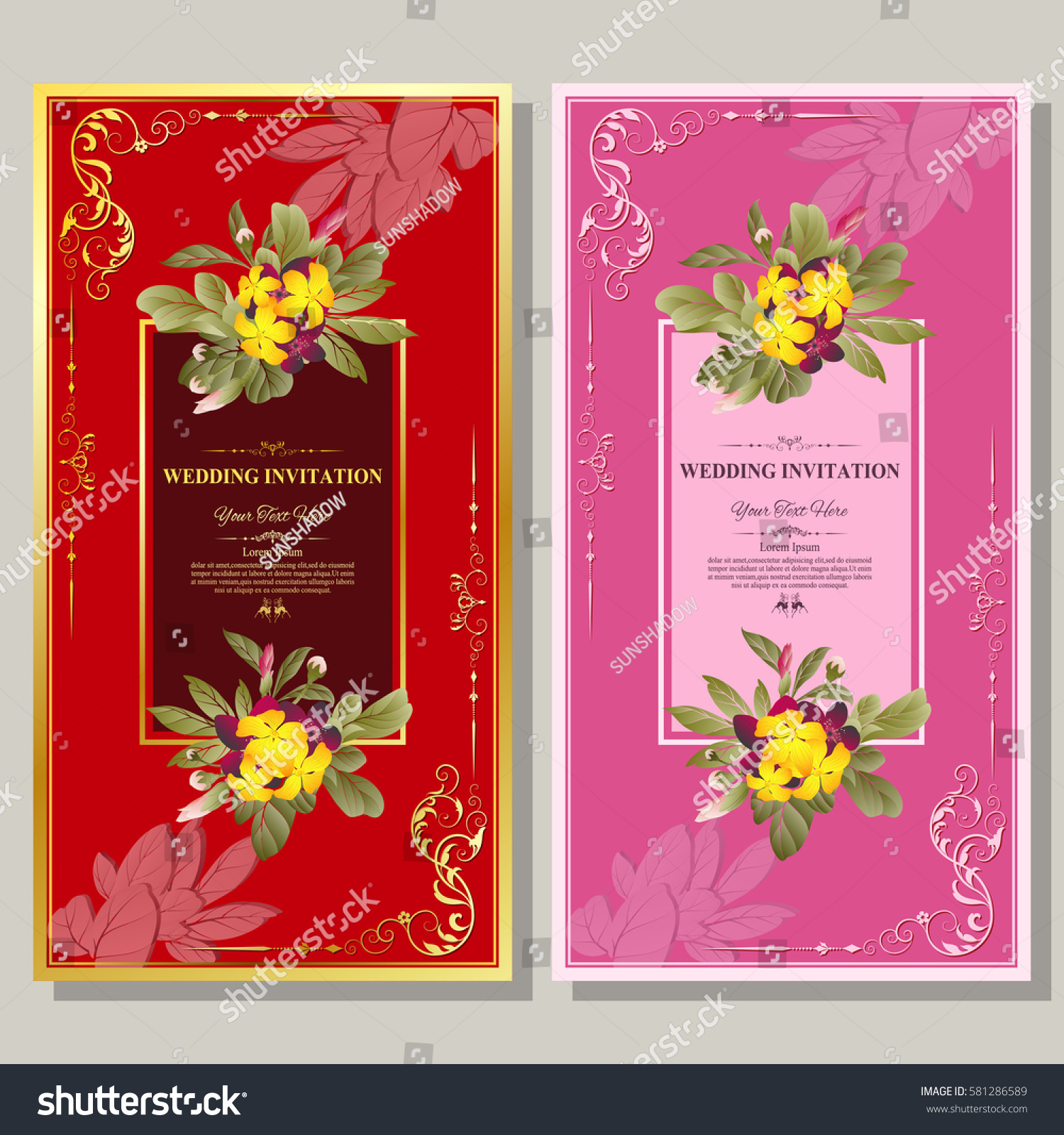 Wedding Invitation Thank You Card Save Stock Vector 581286589 ...