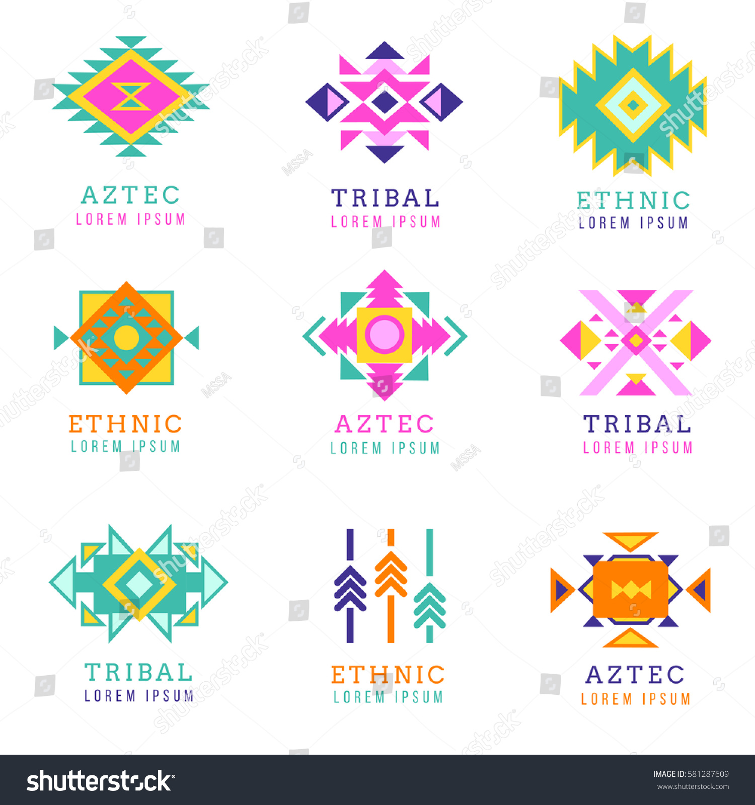 Aztec apache motif style logo set stock vector 581287609 shutterstock aztec or apache motif style logo set native mexican labels isolated on white background buycottarizona Images