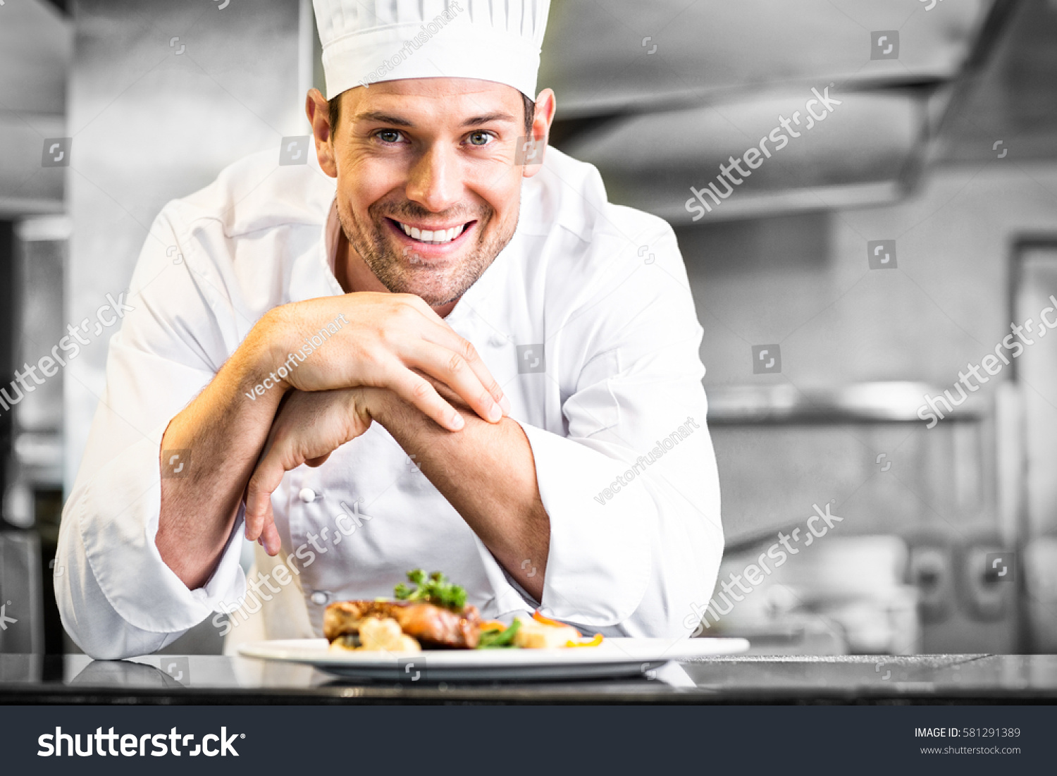 Portrait Smiling Male Chef Cooked Food Stock Photo (Download Now ...