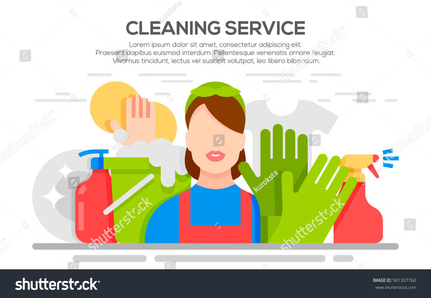 Cleaning Service Flat Illustration Poster Template Stock