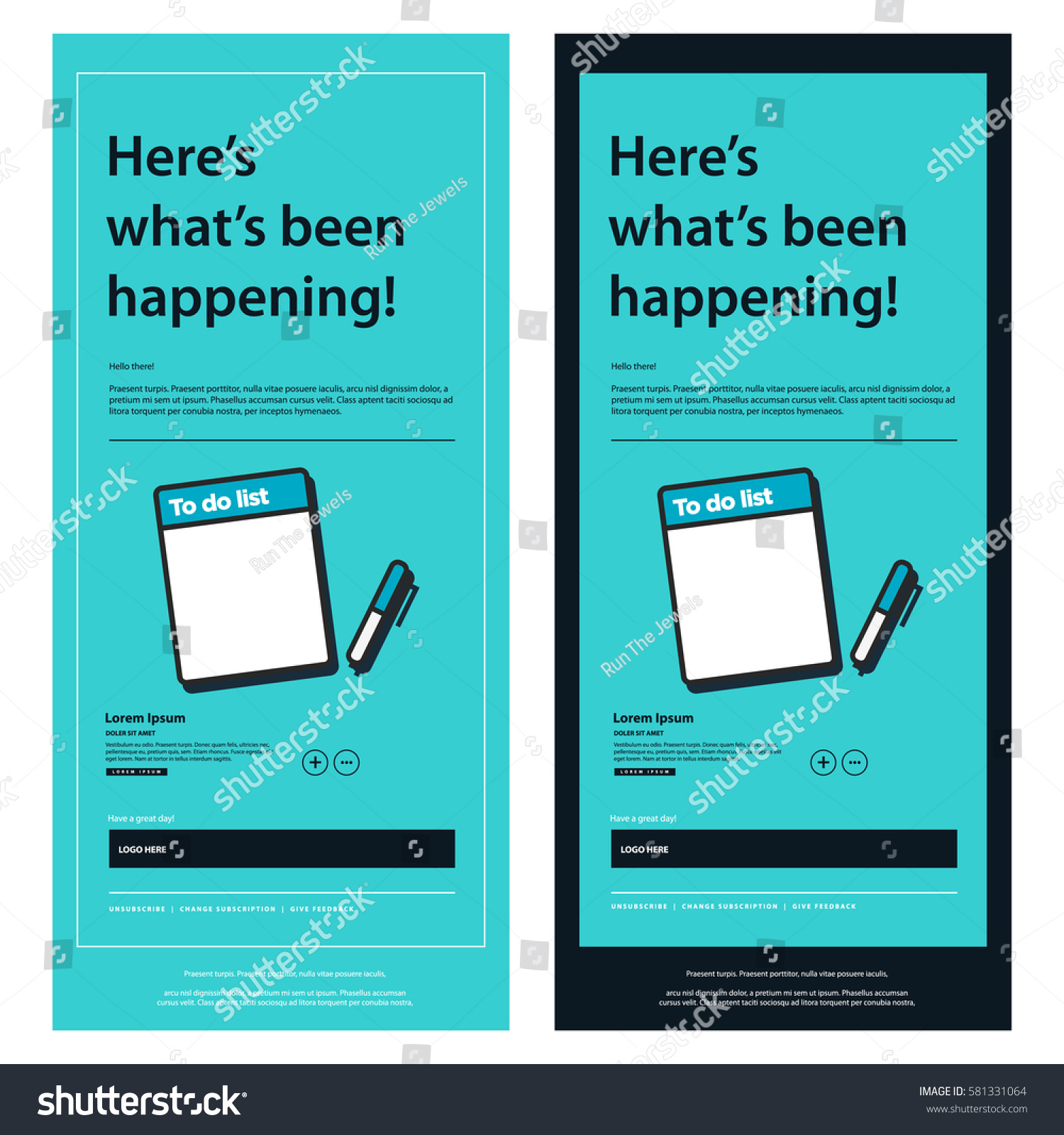 Emailer Newsletter Design Template Notepad Pen Stock Vector Royalty