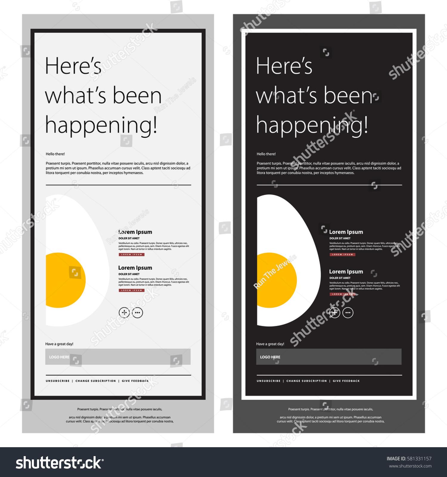 Emailer Newsletter Design Template Egg Vector Stock Vector 581331157 ...