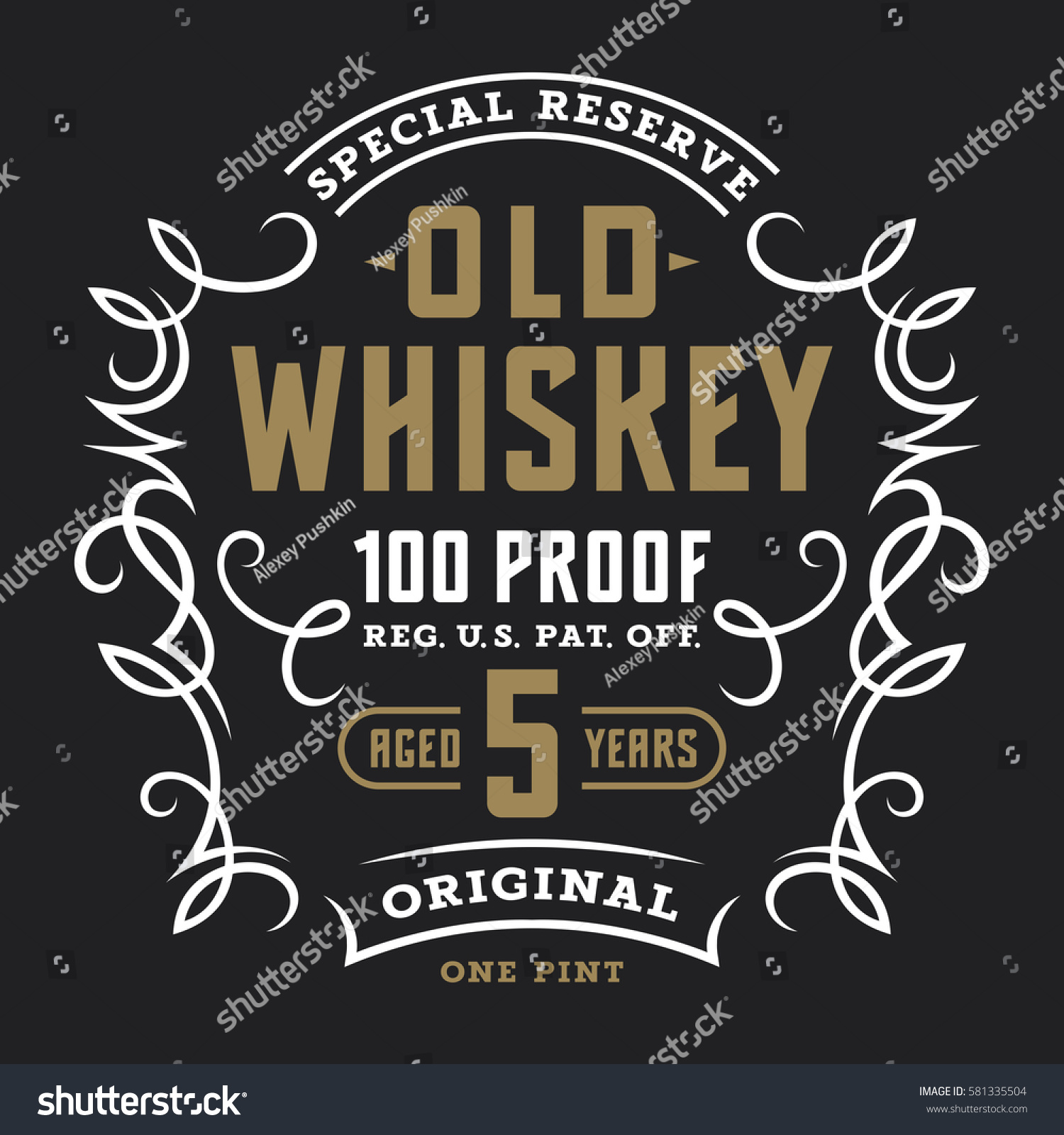 Vintage Whiskey Label Template Calligraphic Design Stock Vector ...