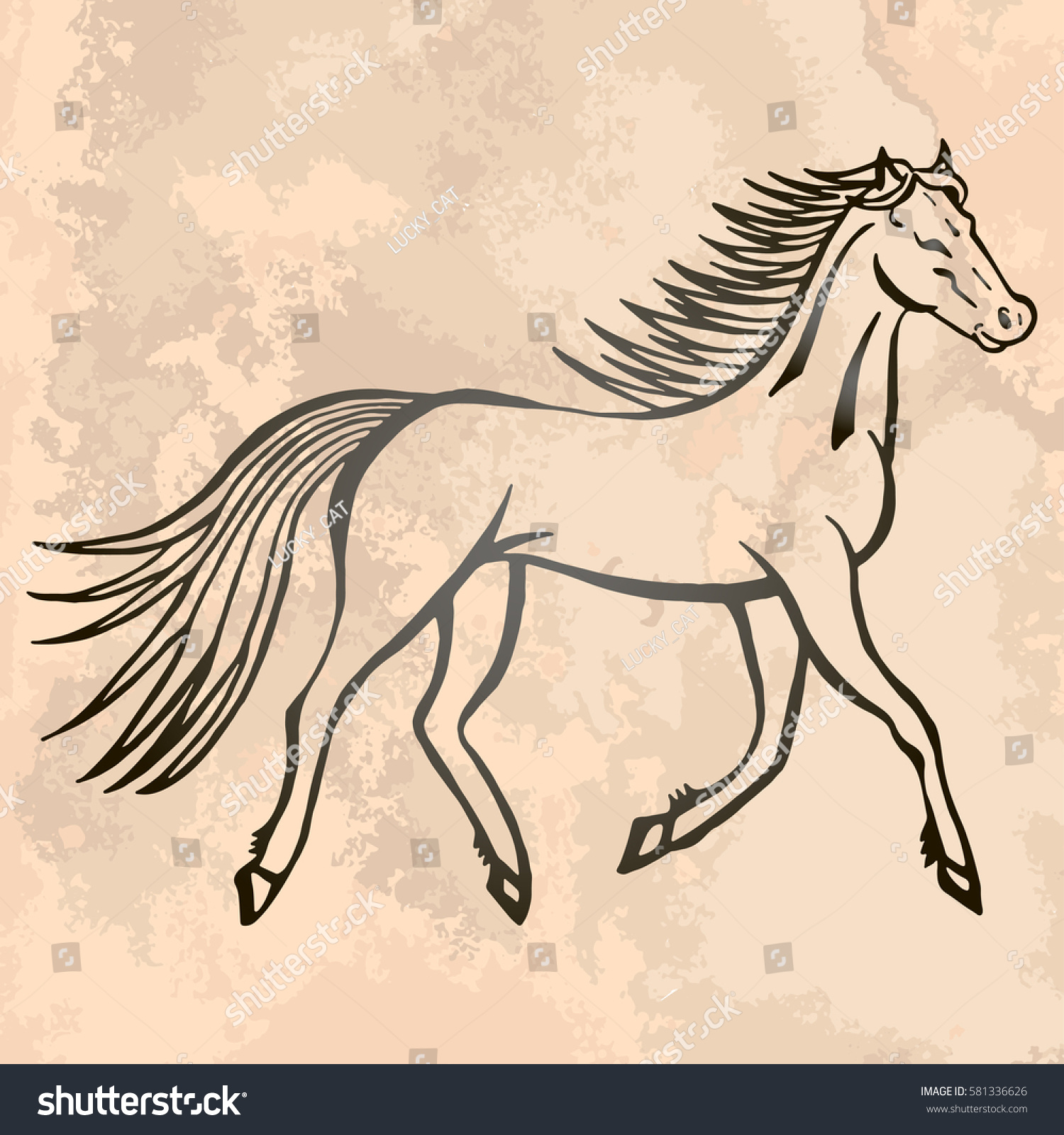 Vector De Stock Libre De Regalias Sobre Illustration Hand Drawn Running Wild Horse581336626