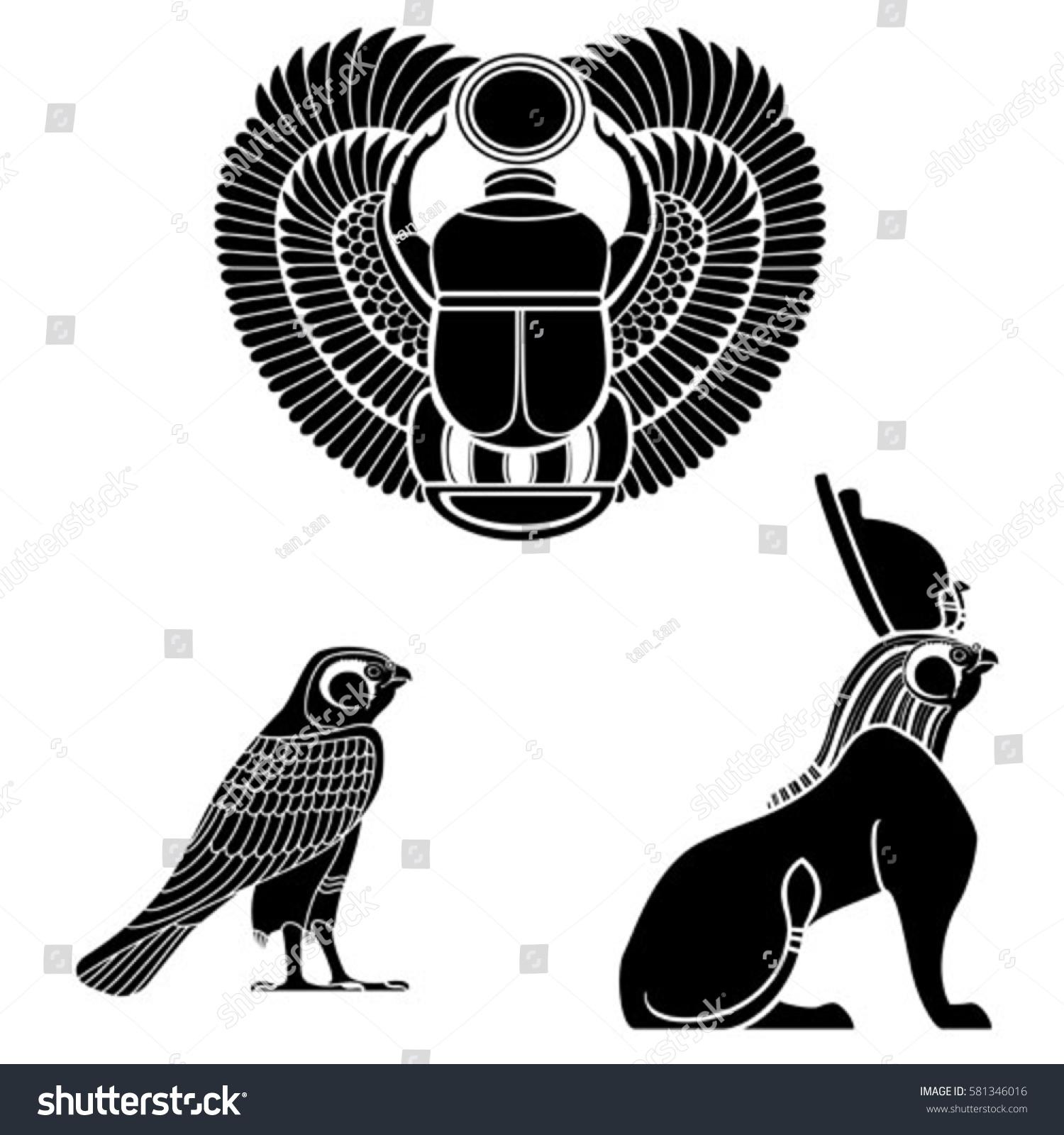 Set Egyptian Ancient Symbol Egyptian Element Stock Vector Royalty