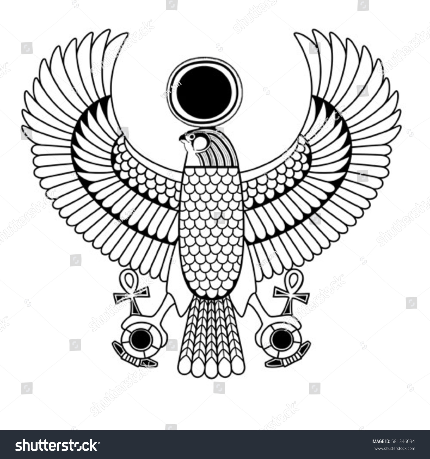 Egyptian Ancient Symbol Isolated Figure Ancient Stock Vector