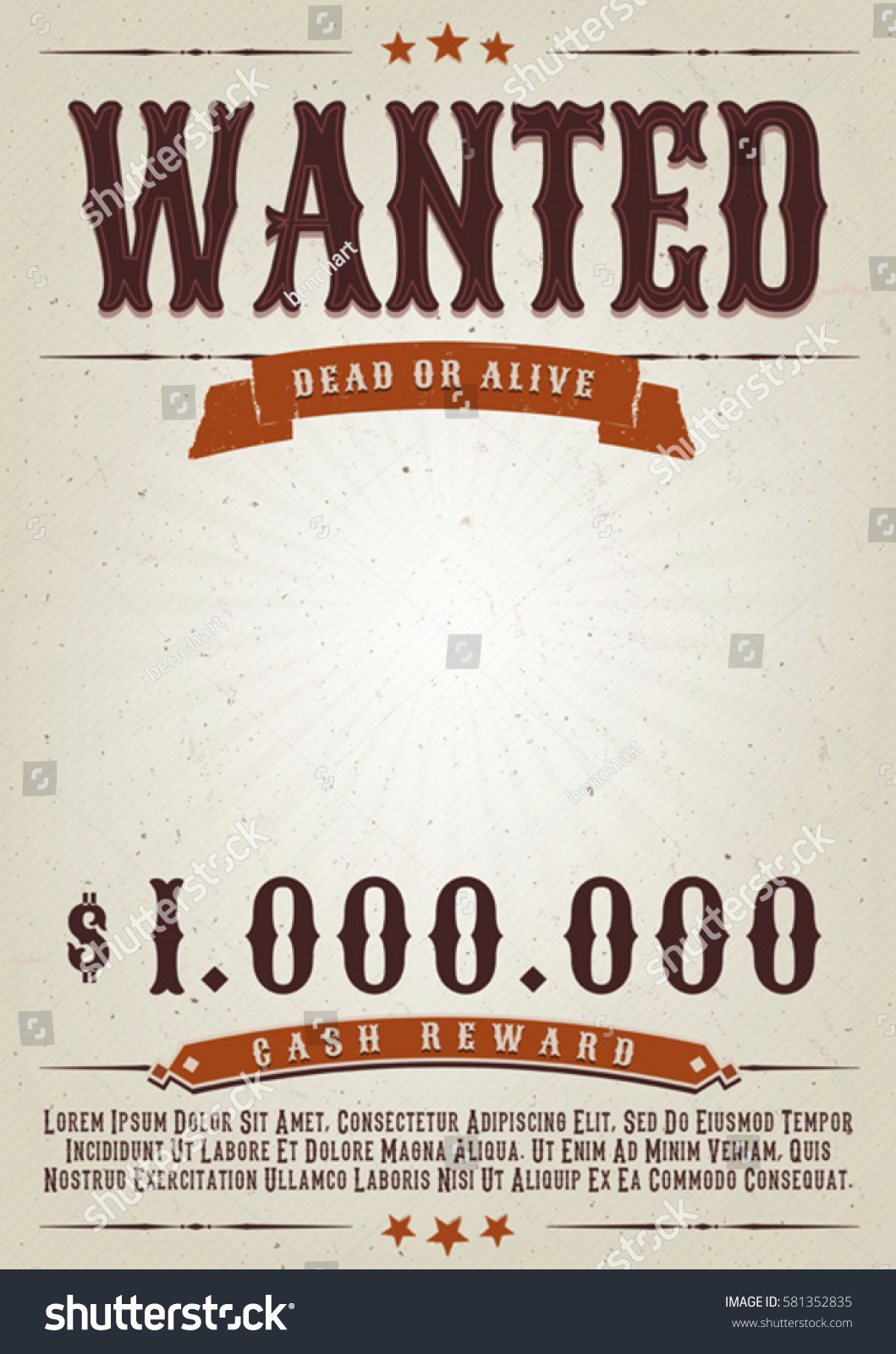 Wanted western movie poster illustration vintage old stock for Wanted dead or alive poster template free