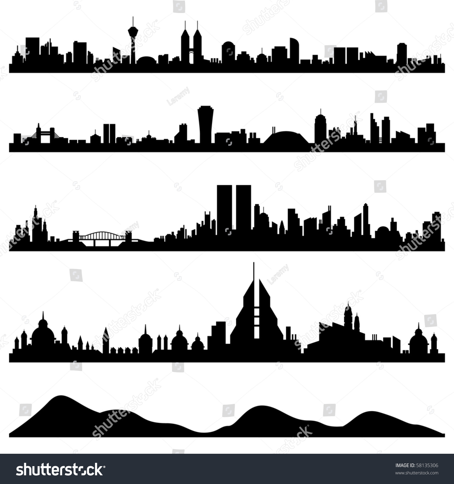 city skyline cityscape vector stock vector 58135306 shutterstock. Black Bedroom Furniture Sets. Home Design Ideas