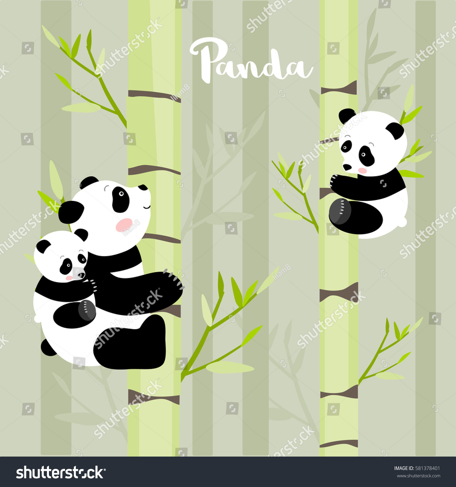 Pandas Climbing Bamboo Trees Vector Illustration Stock Vector ...