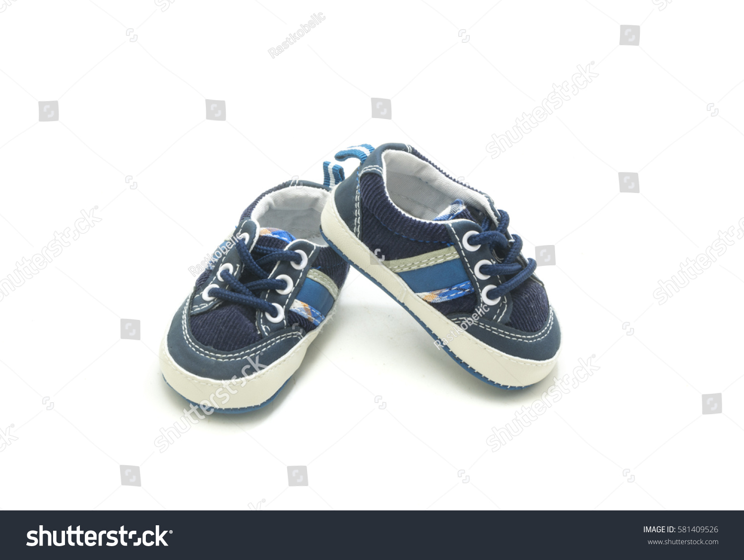 3248d6154 Blue Baby Shoes Isolated On White Stock Photo (Edit Now) 581409526 ...