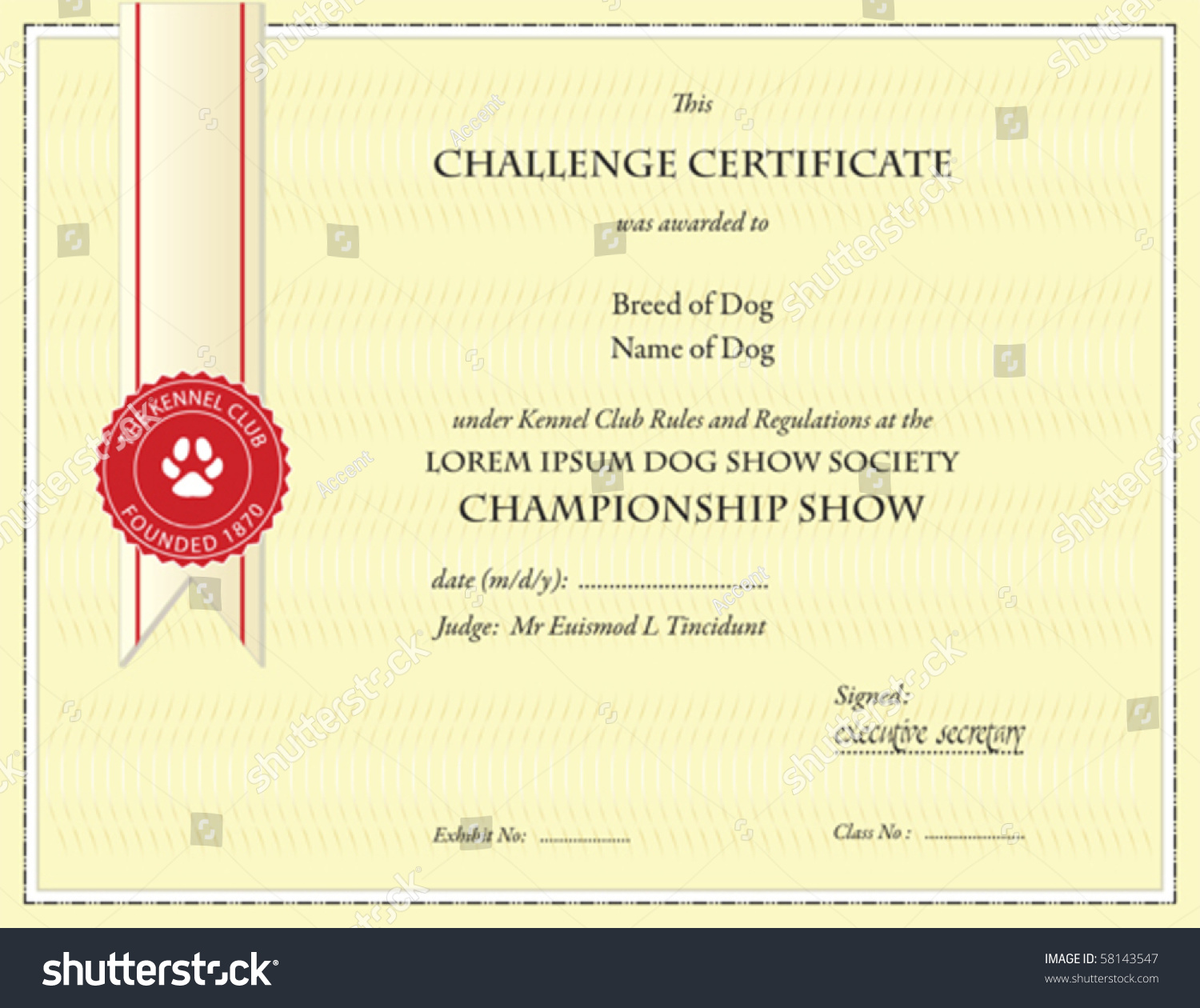 Dog Championship Certificate Template Stock Vector ...