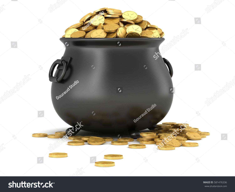 3d render black pot full gold stock illustration 581476336