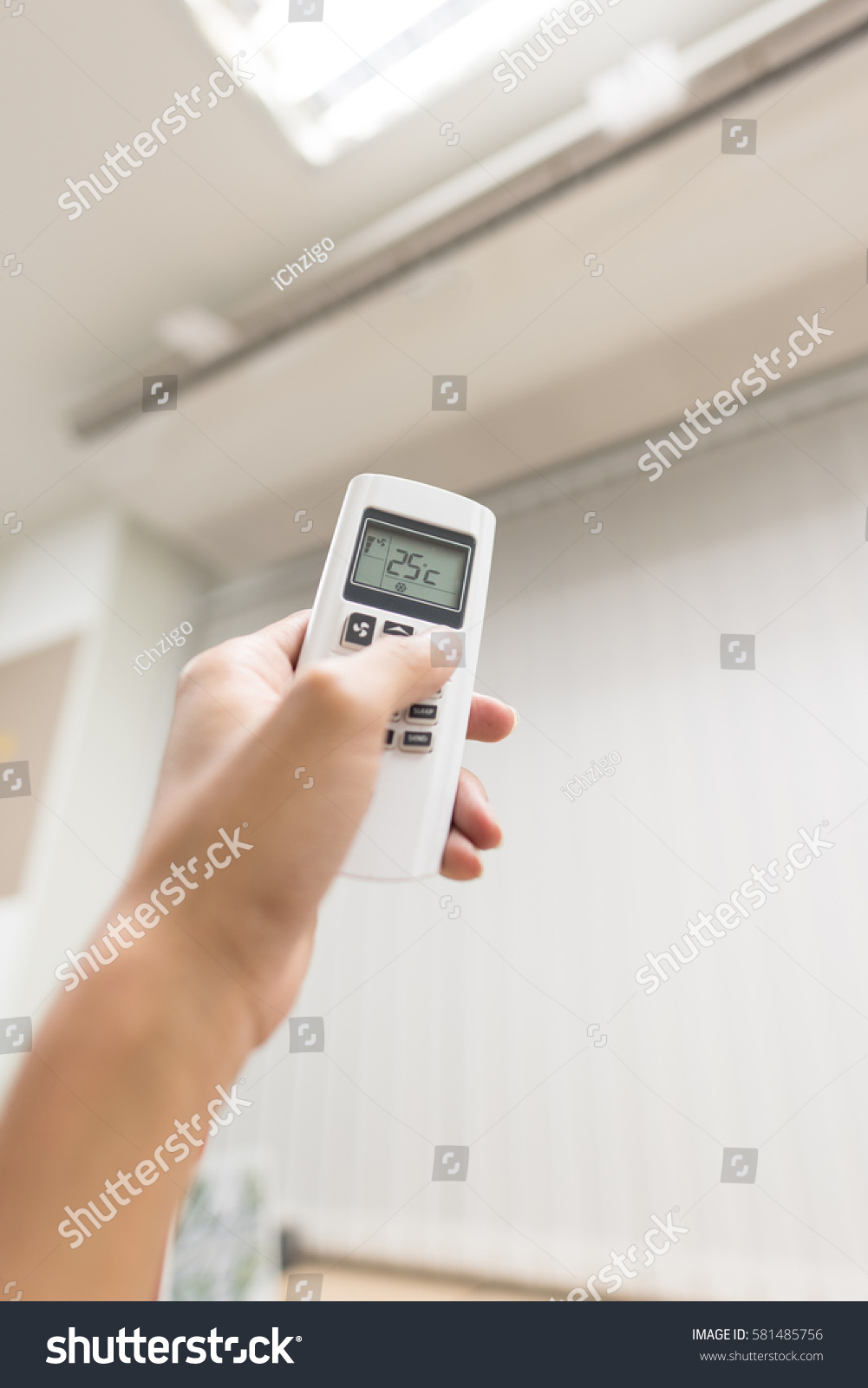 Hand Hold Air Conditions Remote Temperature Stock Photo