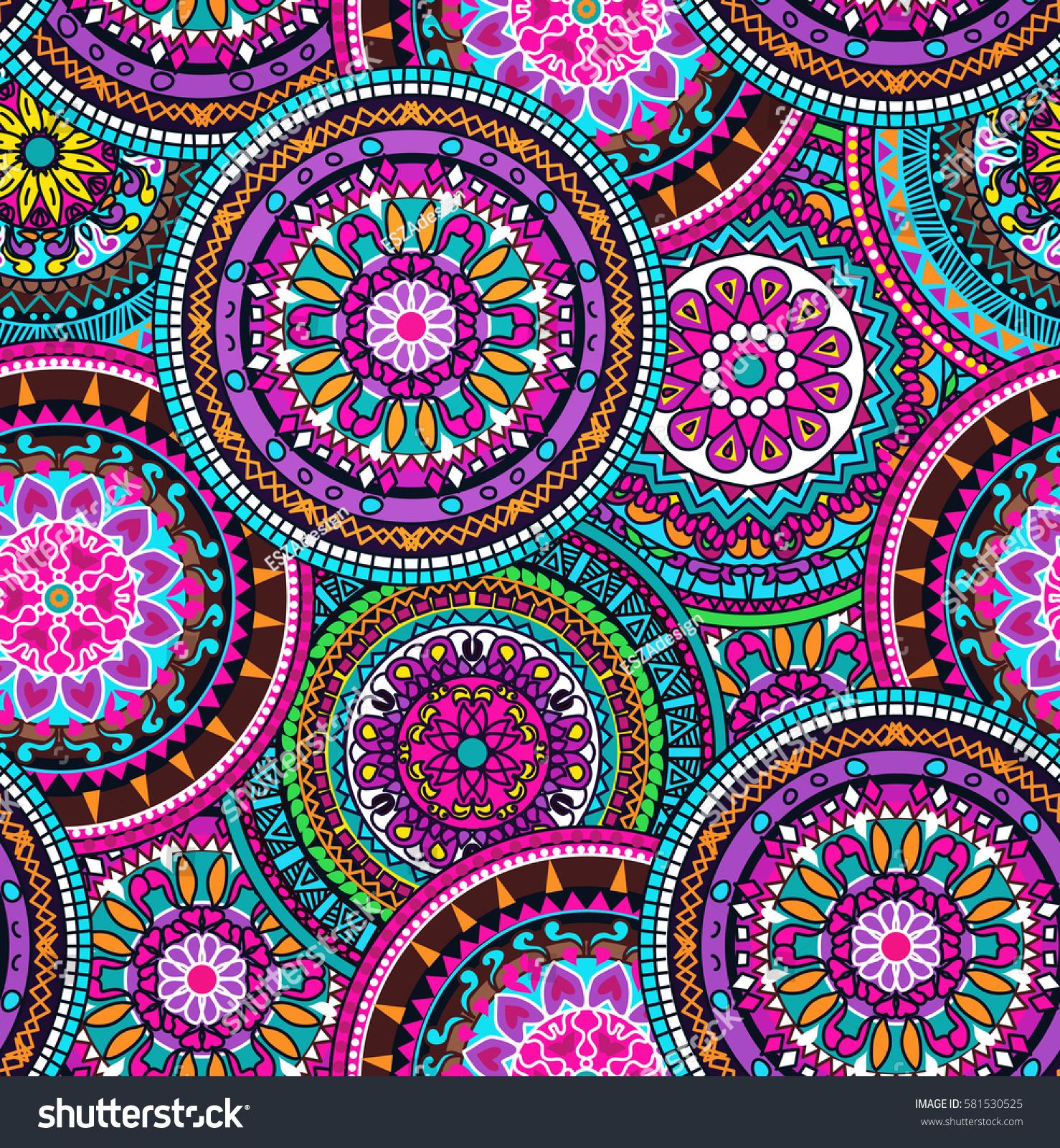 seamless multicolor pattern oriental mandalas hippie ilustraci n en stock 581530525 shutterstock. Black Bedroom Furniture Sets. Home Design Ideas