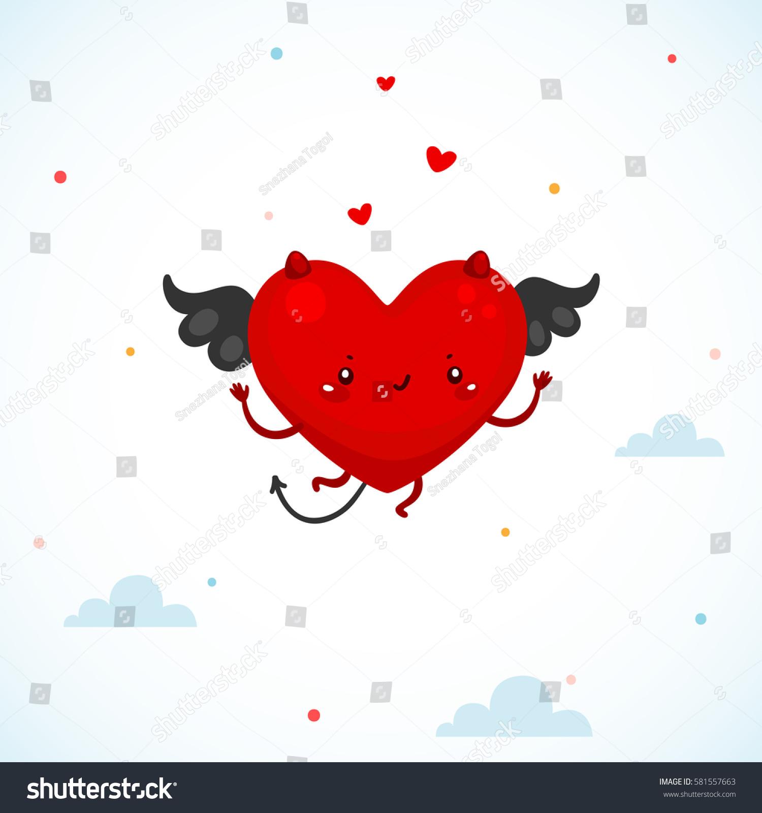 Cute devil heart symbol love cartoon stock vector 581557663 cute devil heart symbol of love cartoon character buycottarizona Images