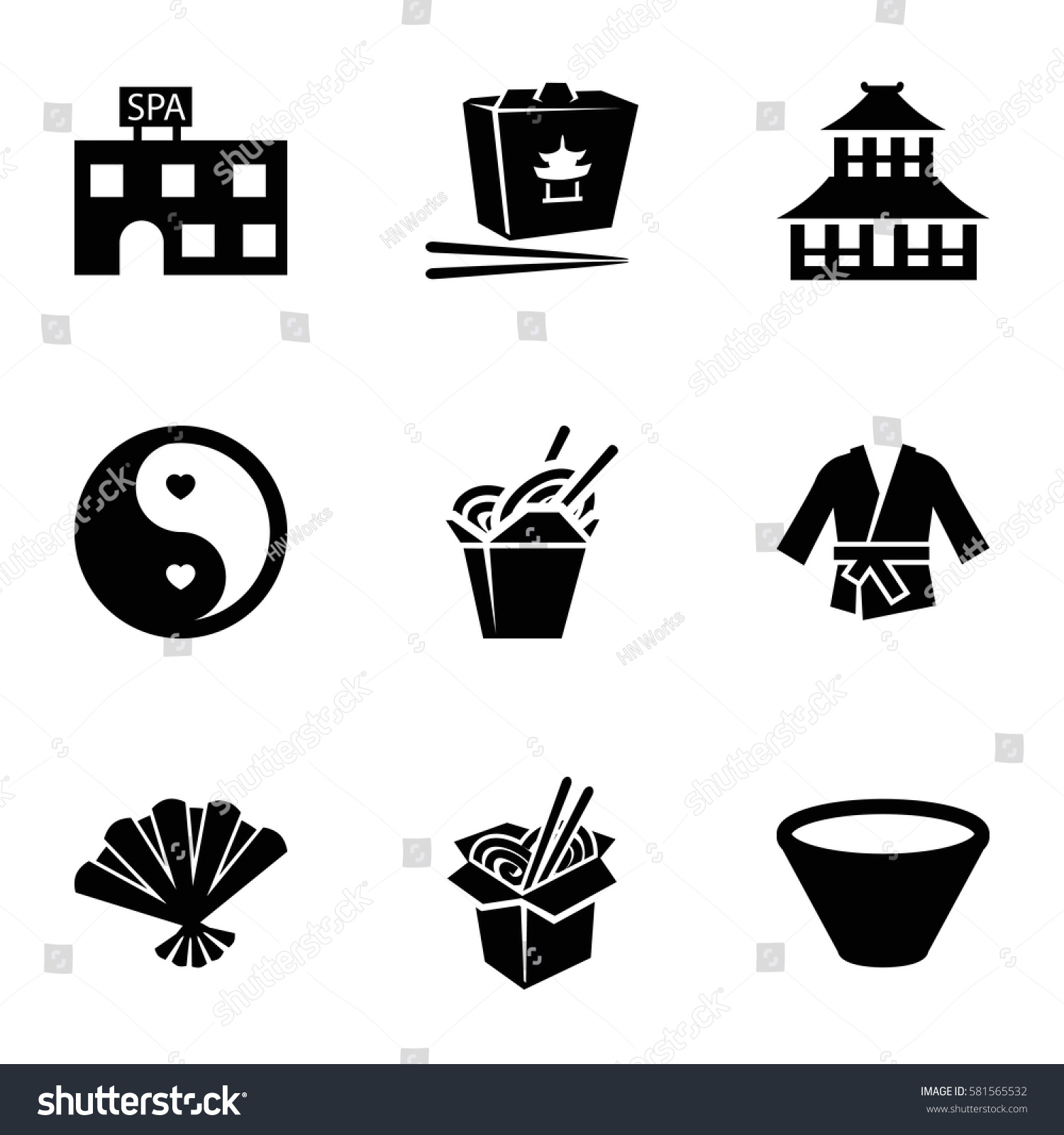 Asian Icons Set Set 9 Asian Stock Vector 2018 581565532 Shutterstock