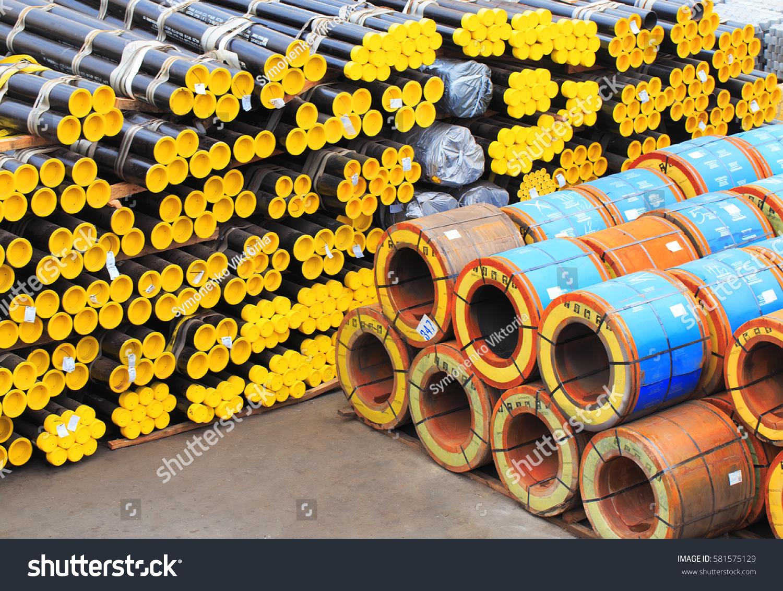 Lots Tubes Prepared Transportation Sea Port Stock Photo