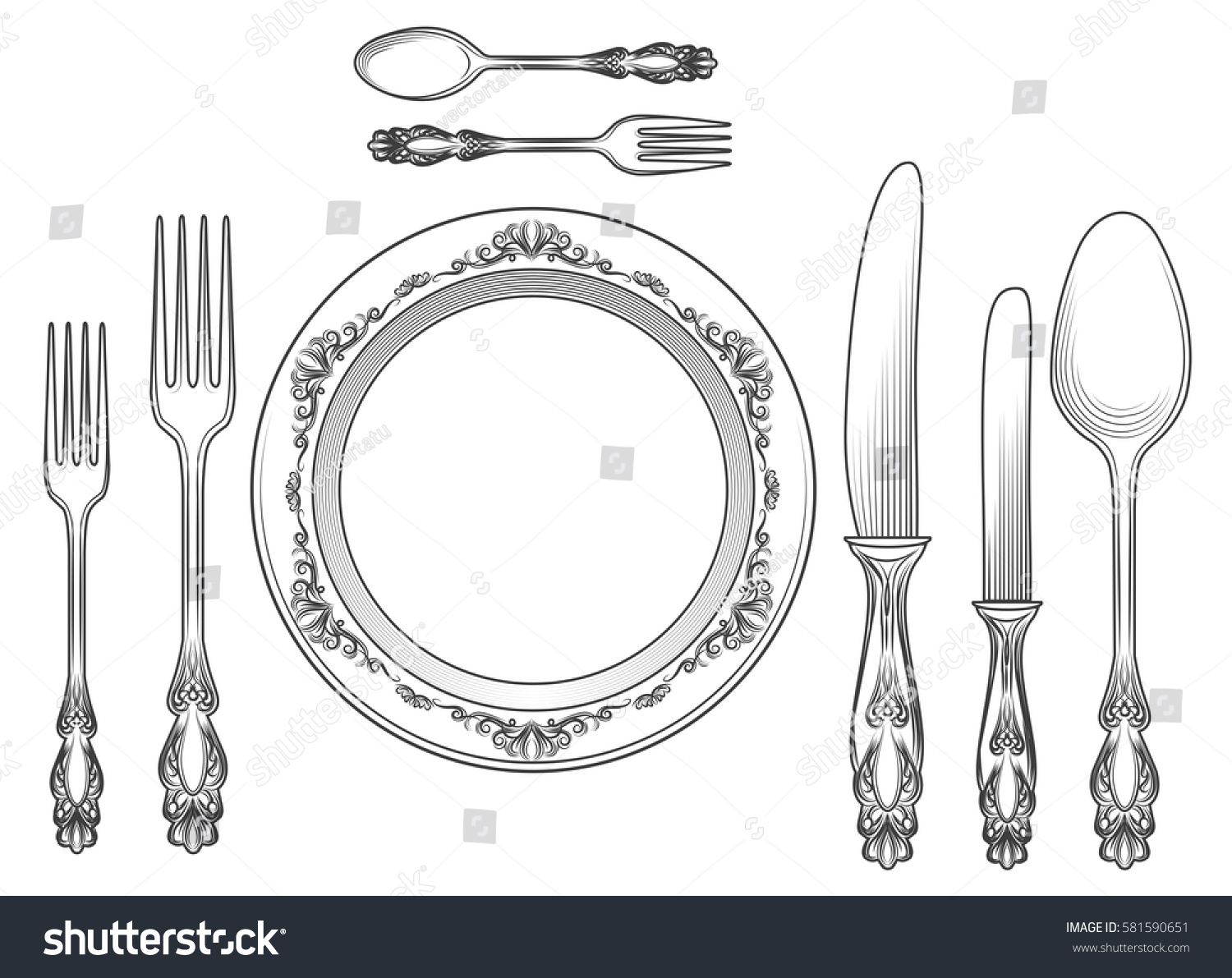 How To Arrange Cutlery On Dining Table Images Dining  : stock vector engraving empty plate with spoon knife and fork vector illustration cutlery and dinner plates 581590651 from sorahana.info size 1500 x 1191 jpeg 335kB