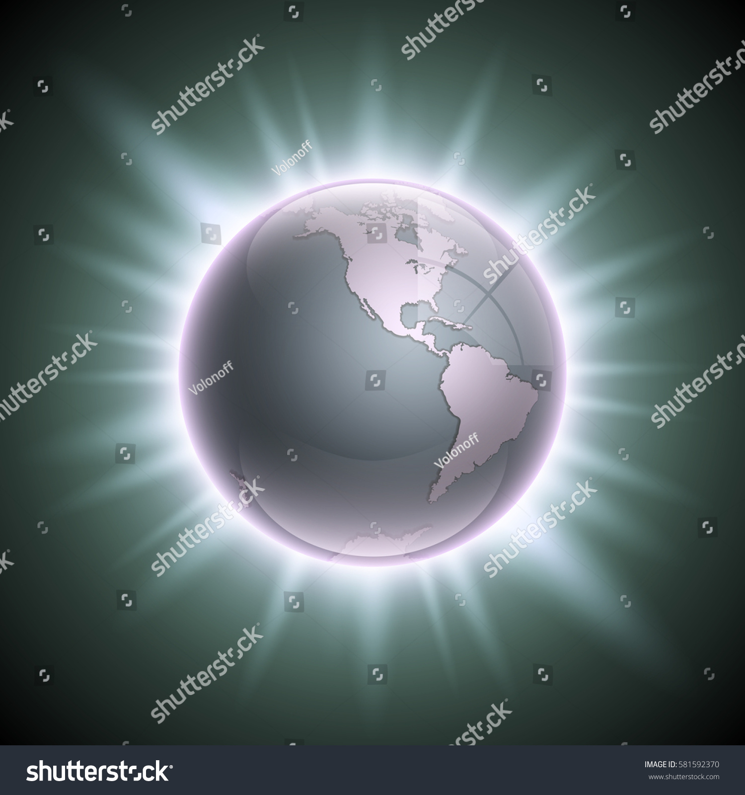 Vector world map rising sun globe stock vector 581592370 vector world map with the rising sun globe icon in the space sunlight planet gumiabroncs Choice Image