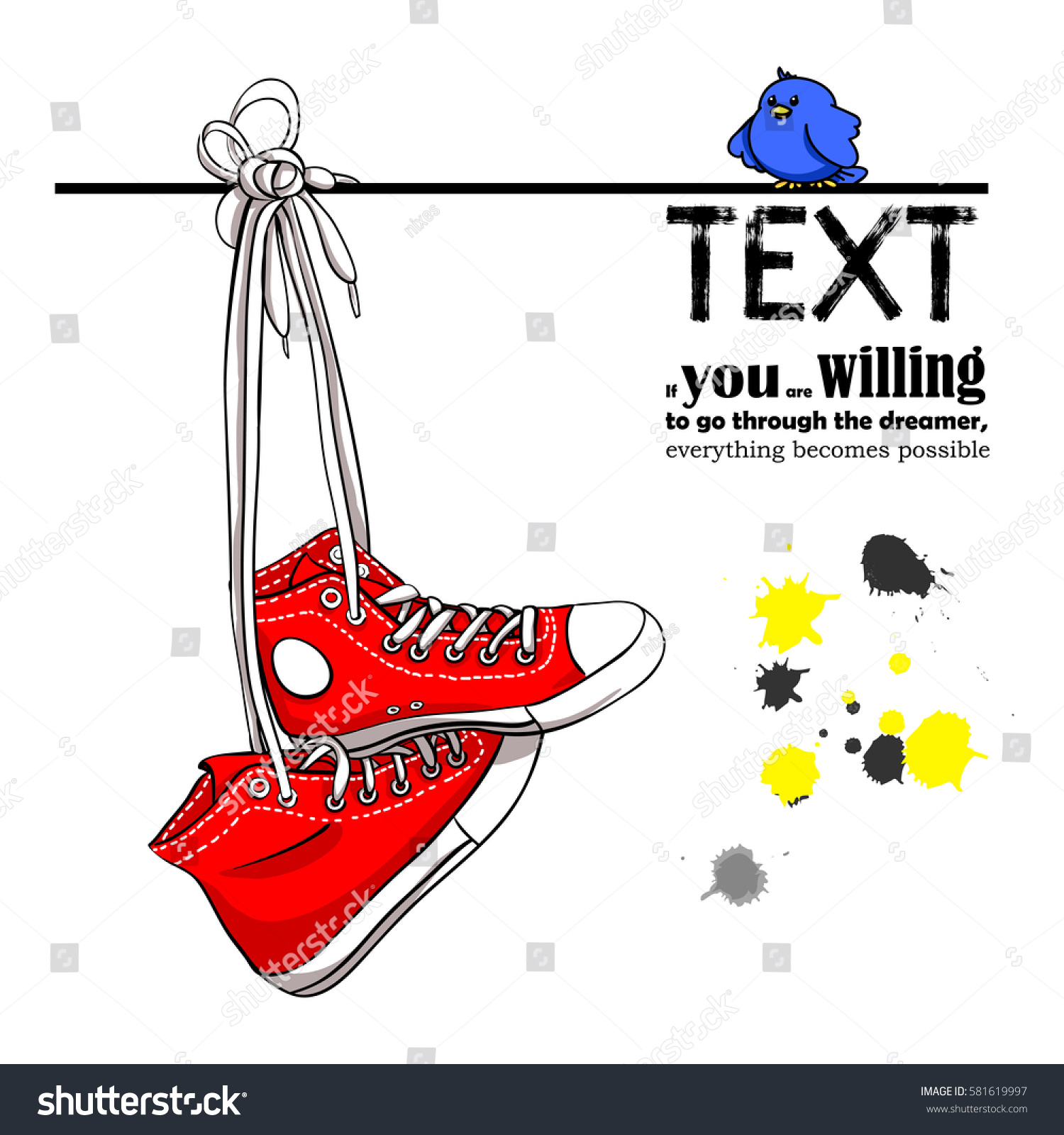 Red Sneakers On Wire Sitting Next Stock Vector HD (Royalty Free ...
